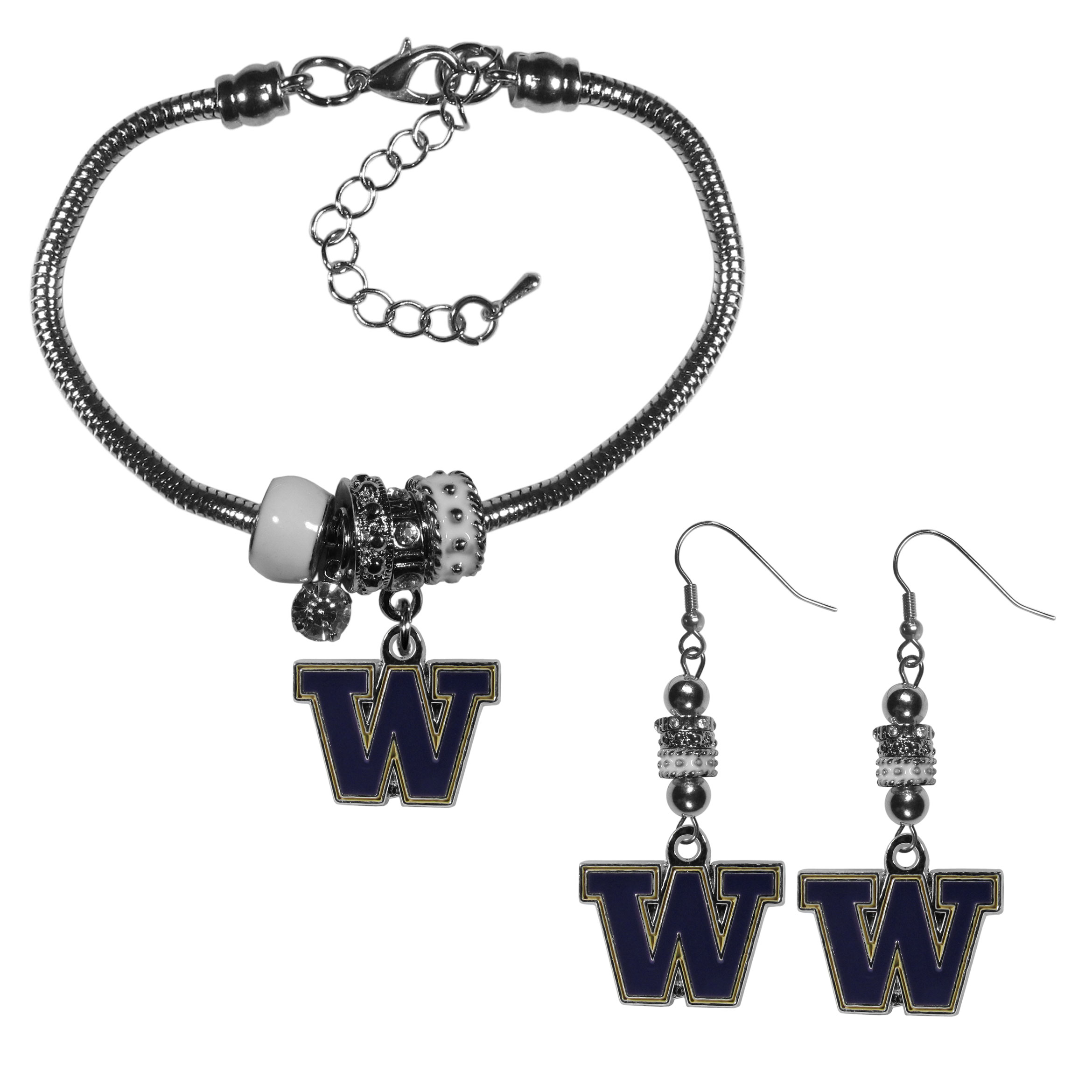 Washington Huskies Euro Bead Earrings and Bracelet Set - We combine the popular Euro bead style with your love of the Washington Huskies with this beautiful jewelry set that includes earrings and a matching bracelet. The stylish earrings feature hypoallergenic, nickel free fishhook posts and 3 team colored Euro beads and a metal team charm. The matching snake chain bracelet is 7.5 inches long with a 2 inch extender and 4 Euro beads with a rhinestone charm and team charm.