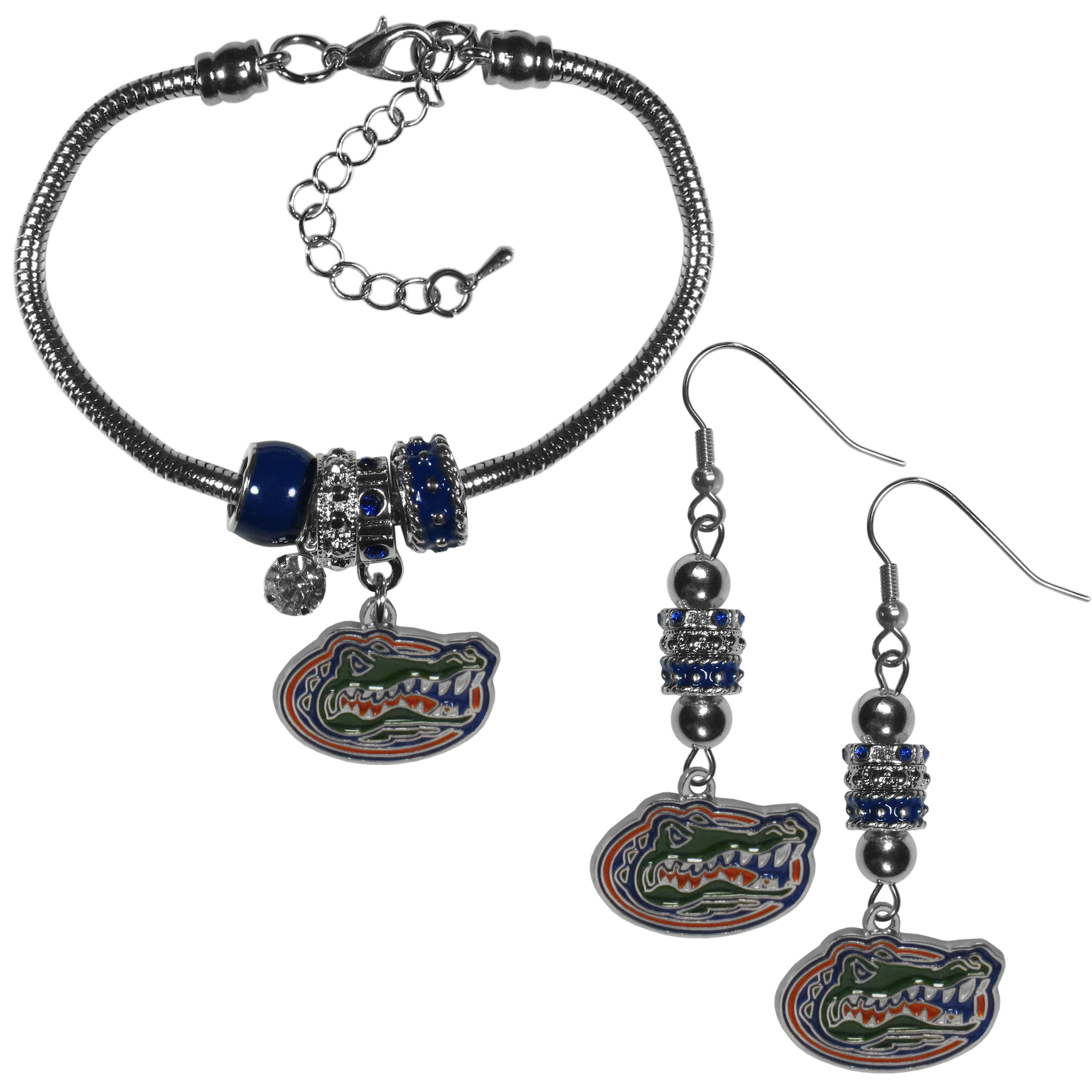Florida Gators Euro Bead Earrings and Bracelet Set - We combine the popular Euro bead style with your love of the Florida Gators with this beautiful jewelry set that includes earrings and a matching bracelet. The stylish earrings feature hypoallergenic, nickel free fishhook posts and 3 team colored Euro beads and a metal team charm. The matching snake chain bracelet is 7.5 inches long with a 2 inch extender and 4 Euro beads with a rhinestone charm and team charm.