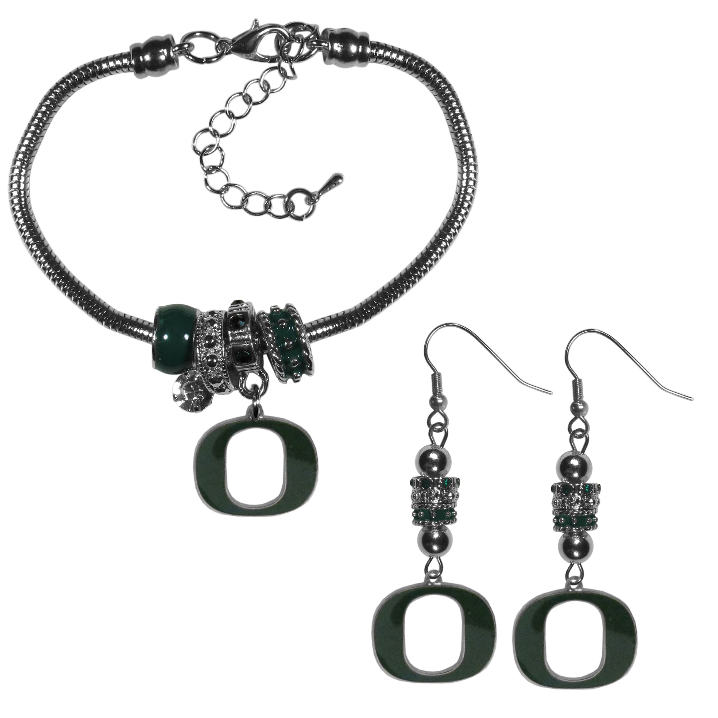 Oregon Ducks Euro Bead Earrings and Bracelet Set - We combine the popular Euro bead style with your love of the Oregon Ducks with this beautiful jewelry set that includes earrings and a matching bracelet. The stylish earrings feature hypoallergenic, nickel free fishhook posts and 3 team colored Euro beads and a metal team charm. The matching snake chain bracelet is 7.5 inches long with a 2 inch extender and 4 Euro beads with a rhinestone charm and team charm.