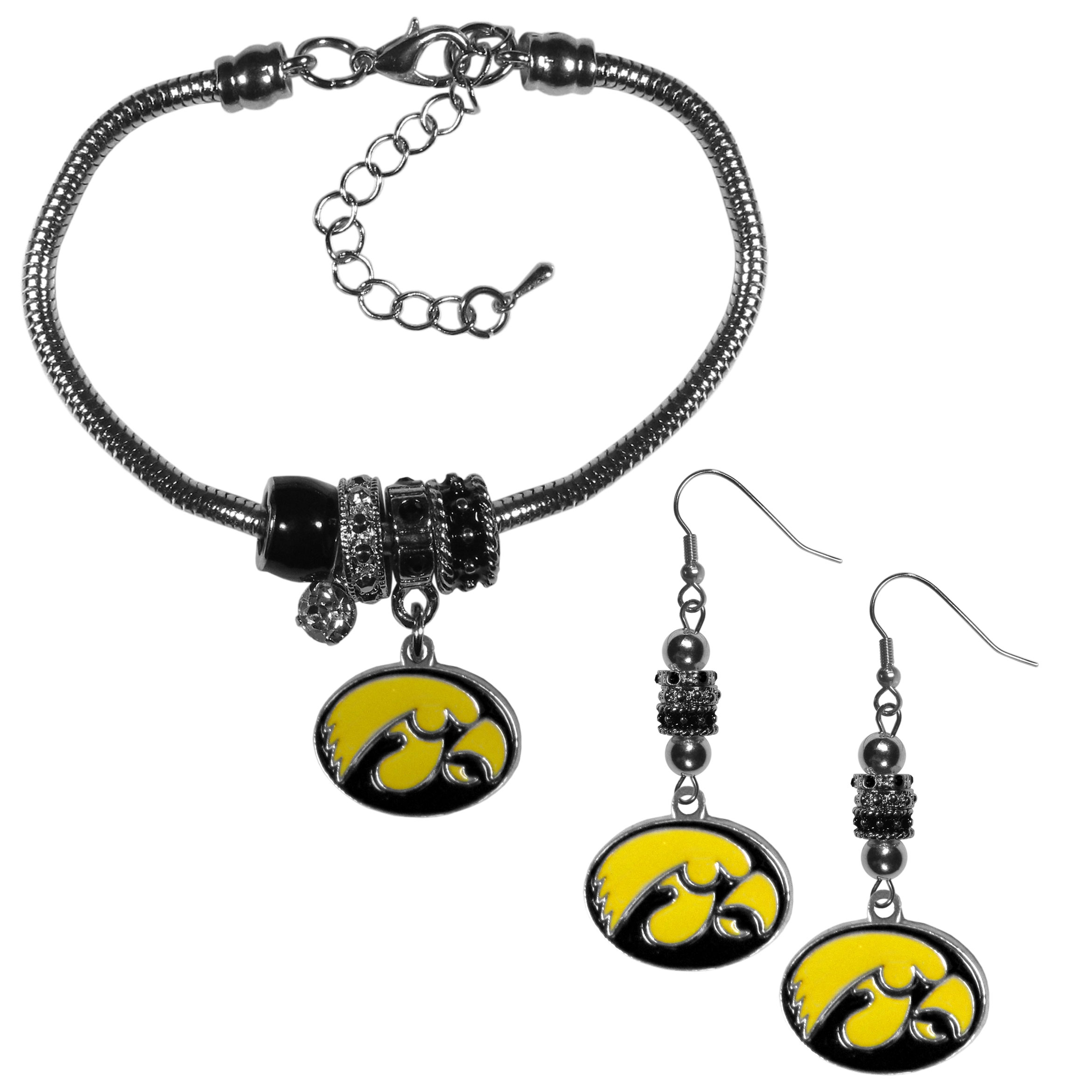 Iowa Hawkeyes Euro Bead Earrings and Bracelet Set - We combine the popular Euro bead style with your love of the Iowa Hawkeyes with this beautiful jewelry set that includes earrings and a matching bracelet. The stylish earrings feature hypoallergenic, nickel free fishhook posts and 3 team colored Euro beads and a metal team charm. The matching snake chain bracelet is 7.5 inches long with a 2 inch extender and 4 Euro beads with a rhinestone charm and team charm.