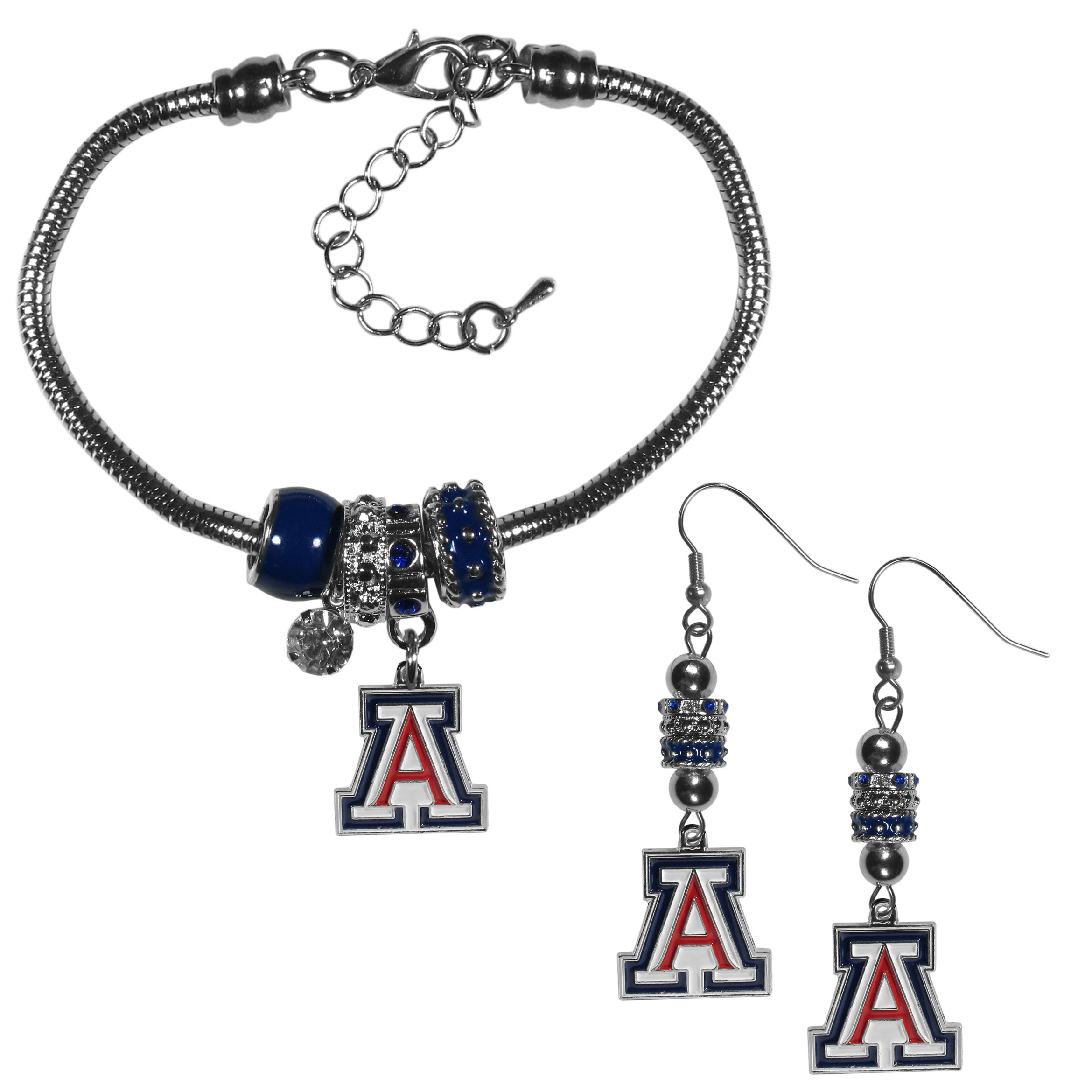 Arizona Wildcats Euro Bead Earrings and Bracelet Set - We combine the popular Euro bead style with your love of the Arizona Wildcats with this beautiful jewelry set that includes earrings and a matching bracelet. The stylish earrings feature hypoallergenic, nickel free fishhook posts and 3 team colored Euro beads and a metal team charm. The matching snake chain bracelet is 7.5 inches long with a 2 inch extender and 4 Euro beads with a rhinestone charm and team charm.