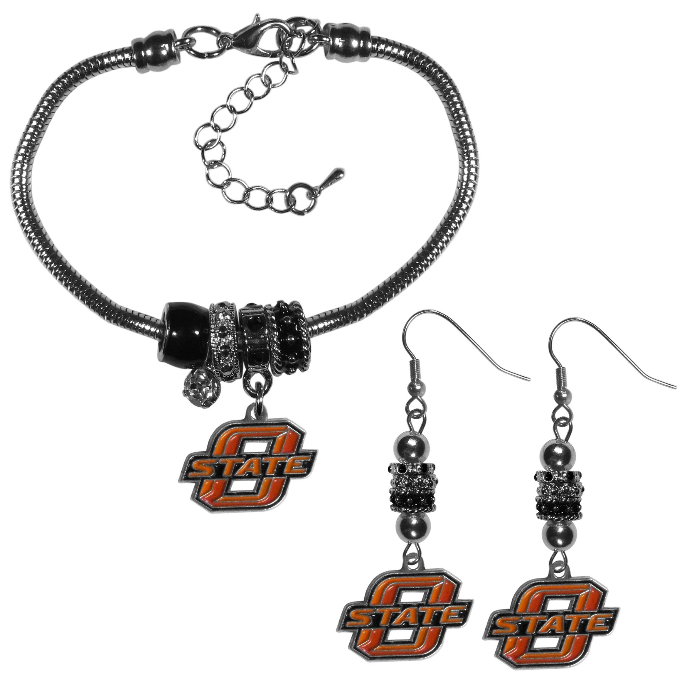 Oklahoma St. Cowboys Euro Bead Earrings and Bracelet Set - We combine the popular Euro bead style with your love of the Oklahoma St. Cowboys with this beautiful jewelry set that includes earrings and a matching bracelet. The stylish earrings feature hypoallergenic, nickel free fishhook posts and 3 team colored Euro beads and a metal team charm. The matching snake chain bracelet is 7.5 inches long with a 2 inch extender and 4 Euro beads with a rhinestone charm and team charm.
