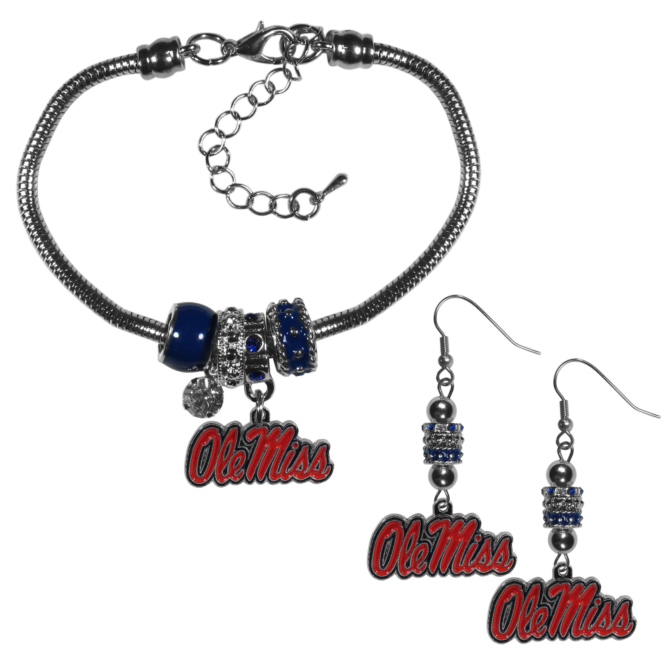 Mississippi Rebels Euro Bead Earrings and Bracelet Set - We combine the popular Euro bead style with your love of the Mississippi Rebels with this beautiful jewelry set that includes earrings and a matching bracelet. The stylish earrings feature hypoallergenic, nickel free fishhook posts and 3 team colored Euro beads and a metal team charm. The matching snake chain bracelet is 7.5 inches long with a 2 inch extender and 4 Euro beads with a rhinestone charm and team charm.