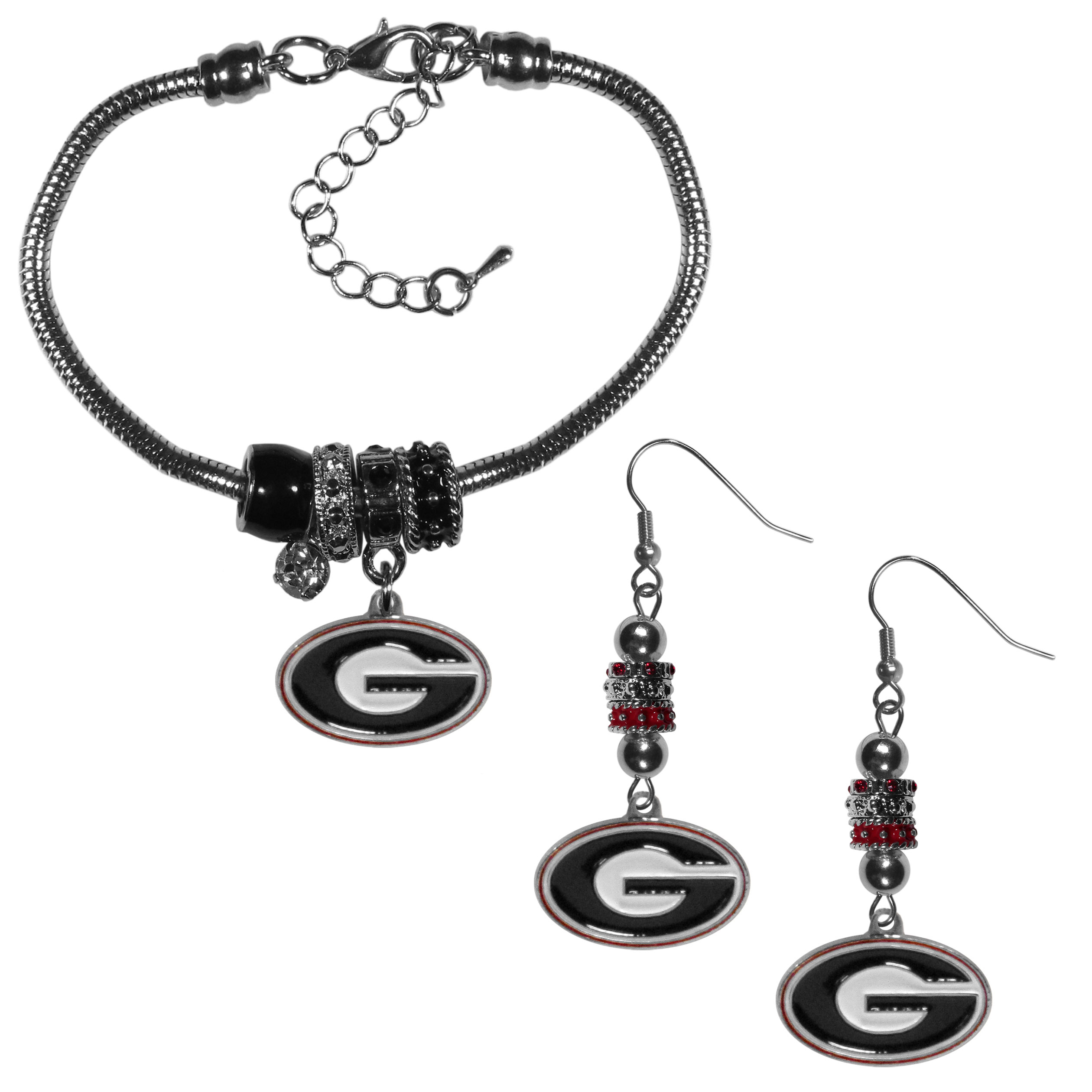 Georgia Bulldogs Euro Bead Earrings and Bracelet Set - We combine the popular Euro bead style with your love of the Georgia Bulldogs with this beautiful jewelry set that includes earrings and a matching bracelet. The stylish earrings feature hypoallergenic, nickel free fishhook posts and 3 team colored Euro beads and a metal team charm. The matching snake chain bracelet is 7.5 inches long with a 2 inch extender and 4 Euro beads with a rhinestone charm and team charm.