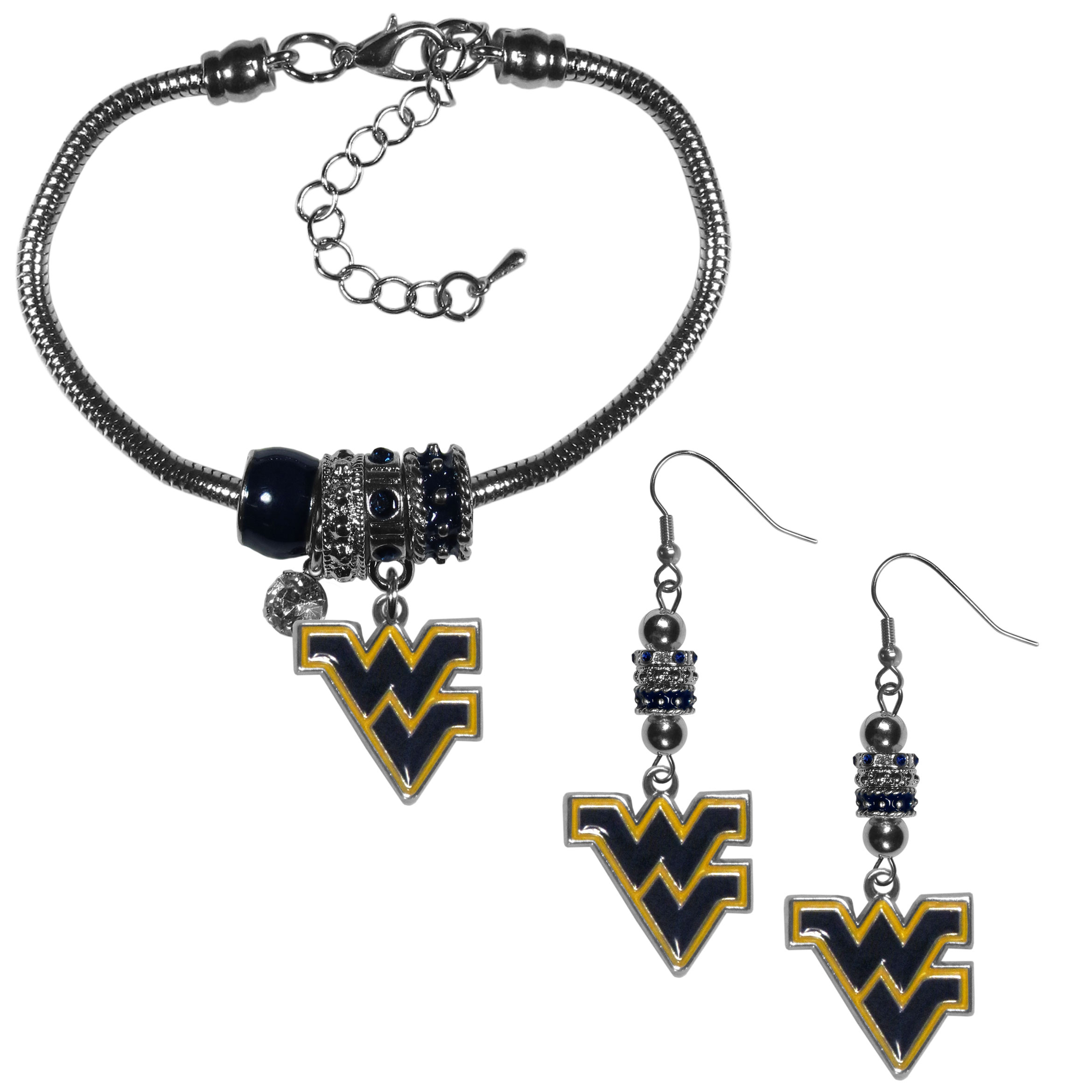 W. Virginia Mountaineers Euro Bead Earrings and Bracelet Set - We combine the popular Euro bead style with your love of the W. Virginia Mountaineers with this beautiful jewelry set that includes earrings and a matching bracelet. The stylish earrings feature hypoallergenic, nickel free fishhook posts and 3 team colored Euro beads and a metal team charm. The matching snake chain bracelet is 7.5 inches long with a 2 inch extender and 4 Euro beads with a rhinestone charm and team charm.