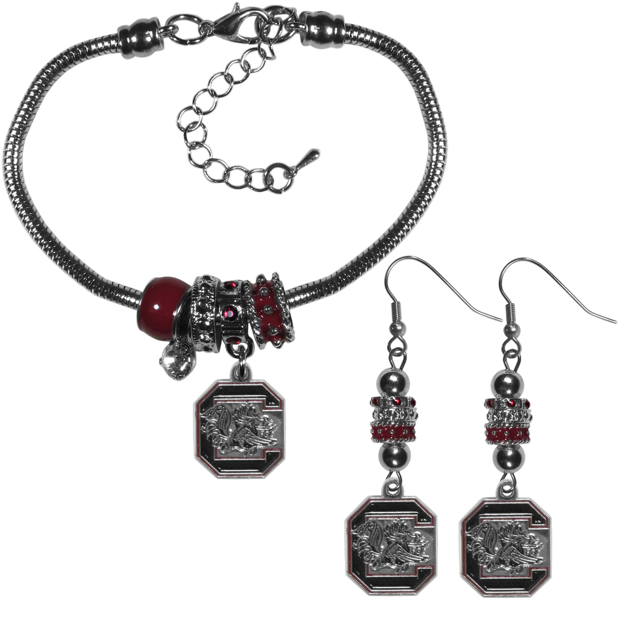 S. Carolina Gamecocks Euro Bead Earrings and Bracelet Set - We combine the popular Euro bead style with your love of the S. Carolina Gamecocks with this beautiful jewelry set that includes earrings and a matching bracelet. The stylish earrings feature hypoallergenic, nickel free fishhook posts and 3 team colored Euro beads and a metal team charm. The matching snake chain bracelet is 7.5 inches long with a 2 inch extender and 4 Euro beads with a rhinestone charm and team charm.