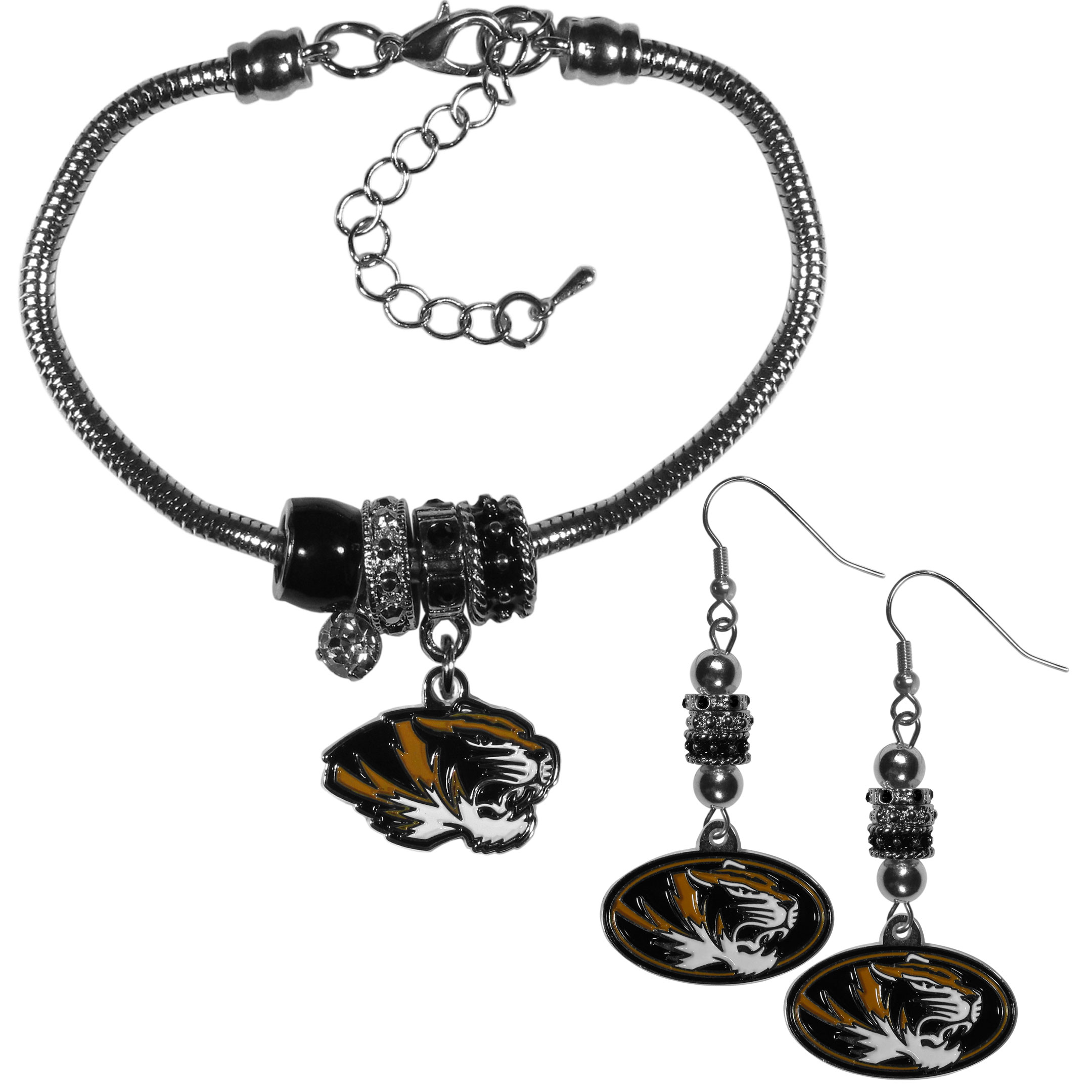 Missouri Tigers Euro Bead Earrings and Bracelet Set - We combine the popular Euro bead style with your love of the Missouri Tigers with this beautiful jewelry set that includes earrings and a matching bracelet. The stylish earrings feature hypoallergenic, nickel free fishhook posts and 3 team colored Euro beads and a metal team charm. The matching snake chain bracelet is 7.5 inches long with a 2 inch extender and 4 Euro beads with a rhinestone charm and team charm.