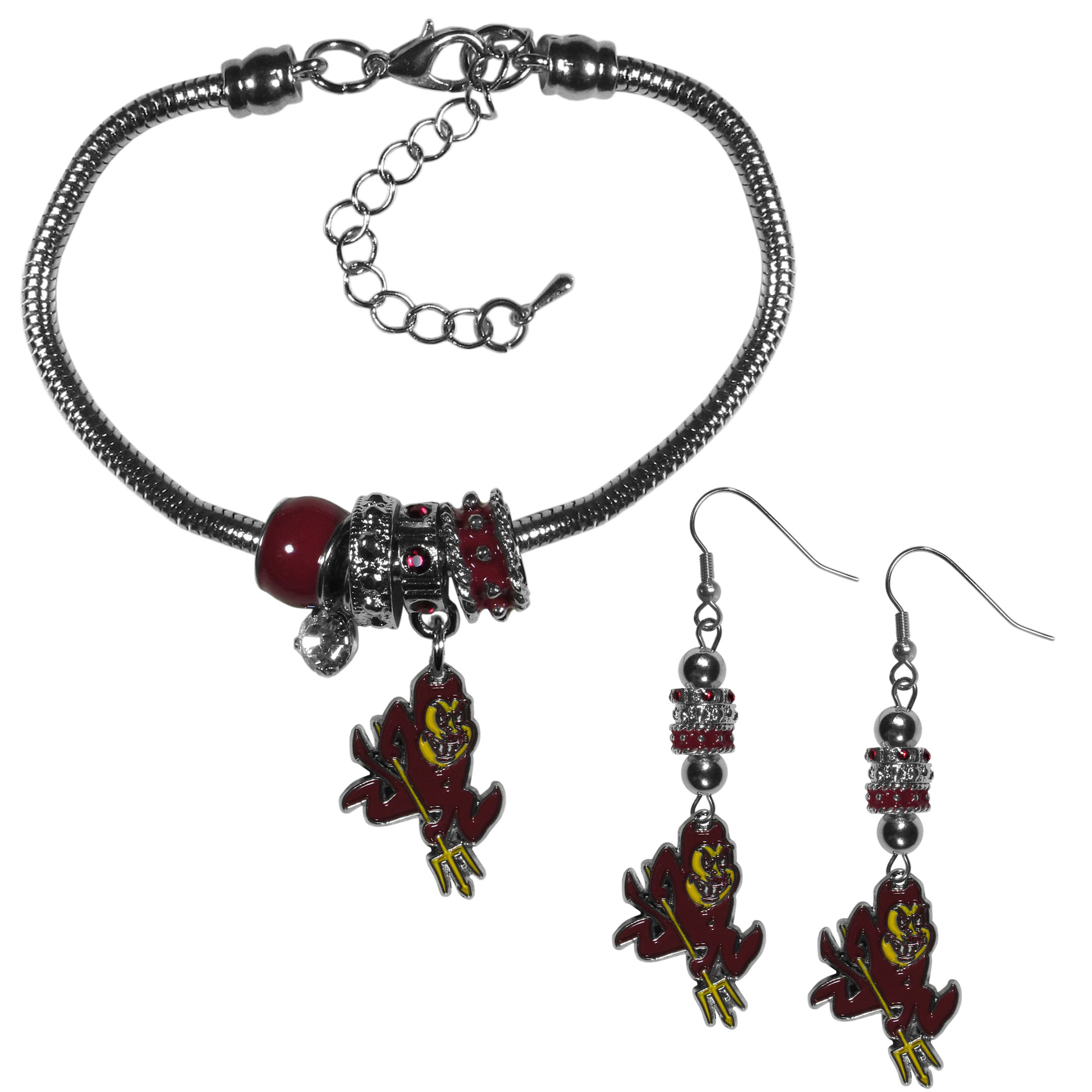 Arizona St. Sun Devils Euro Bead Earrings and Bracelet Set - We combine the popular Euro bead style with your love of the Arizona St. Sun Devils with this beautiful jewelry set that includes earrings and a matching bracelet. The stylish earrings feature hypoallergenic, nickel free fishhook posts and 3 team colored Euro beads and a metal team charm. The matching snake chain bracelet is 7.5 inches long with a 2 inch extender and 4 Euro beads with a rhinestone charm and team charm.