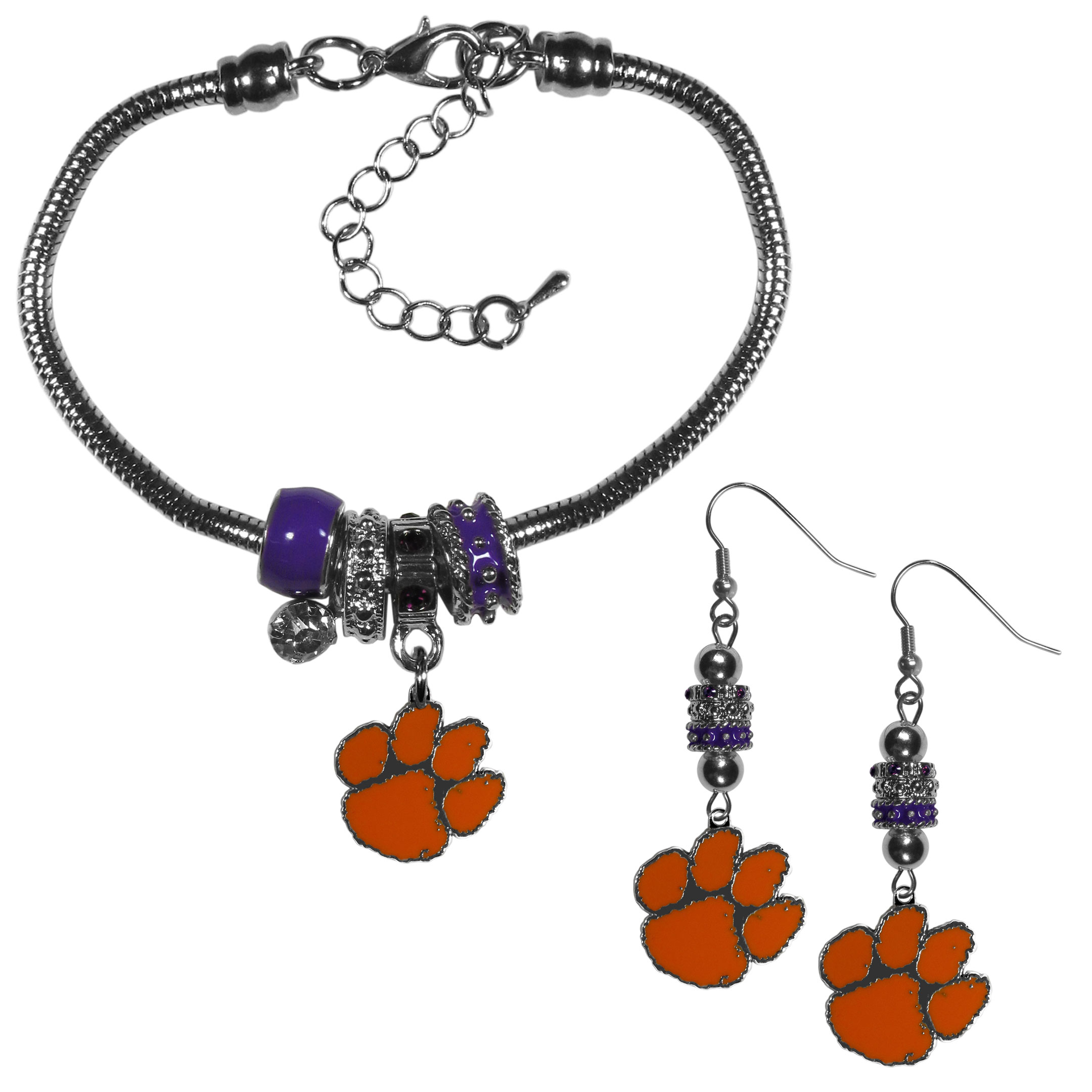 Clemson Tigers Euro Bead Earrings and Bracelet Set - We combine the popular Euro bead style with your love of the Clemson Tigers with this beautiful jewelry set that includes earrings and a matching bracelet. The stylish earrings feature hypoallergenic, nickel free fishhook posts and 3 team colored Euro beads and a metal team charm. The matching snake chain bracelet is 7.5 inches long with a 2 inch extender and 4 Euro beads with a rhinestone charm and team charm.