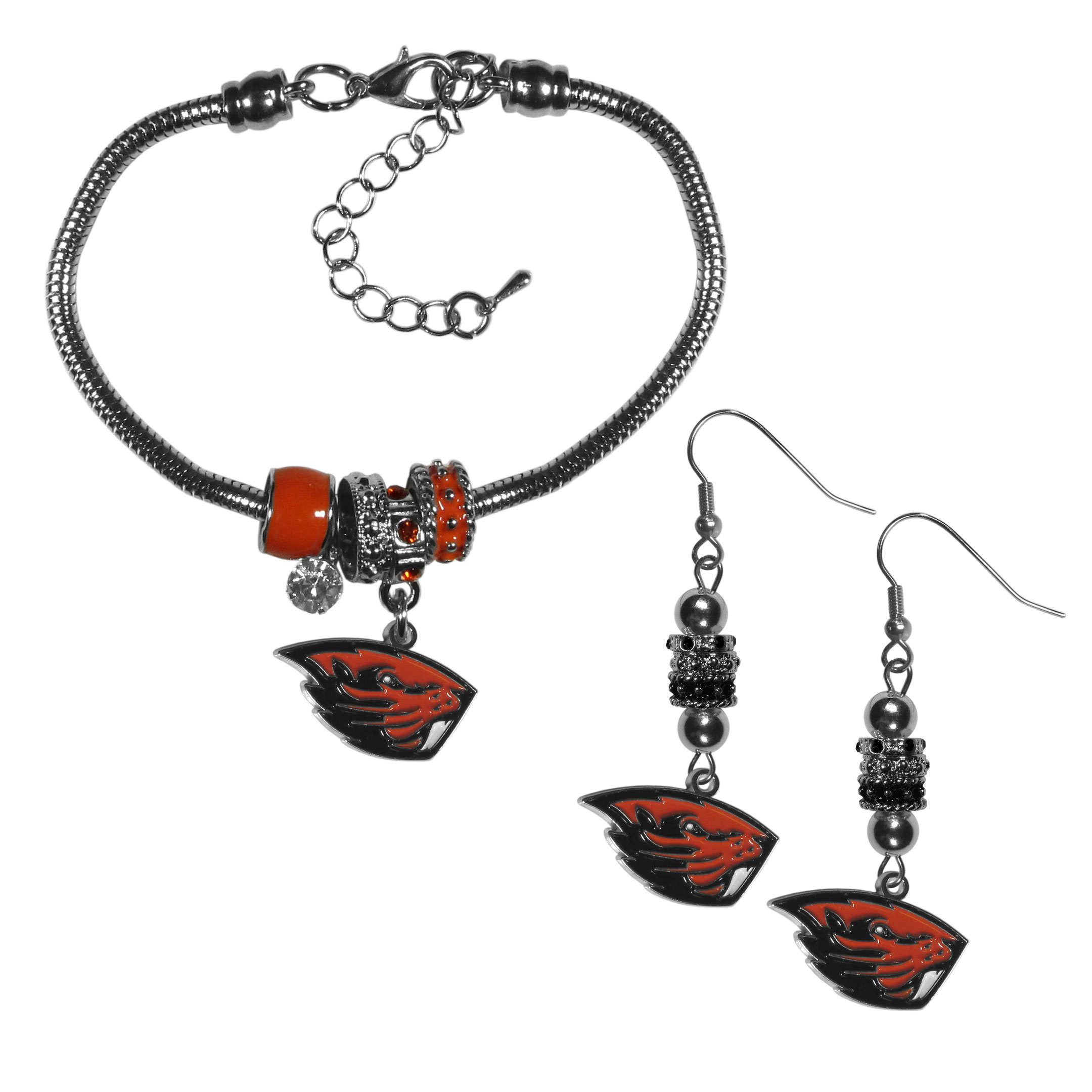 Oregon St. Beavers Euro Bead Earrings and Bracelet Set - We combine the popular Euro bead style with your love of the Oregon St. Beavers with this beautiful jewelry set that includes earrings and a matching bracelet. The stylish earrings feature hypoallergenic, nickel free fishhook posts and 3 team colored Euro beads and a metal team charm. The matching snake chain bracelet is 7.5 inches long with a 2 inch extender and 4 Euro beads with a rhinestone charm and team charm.