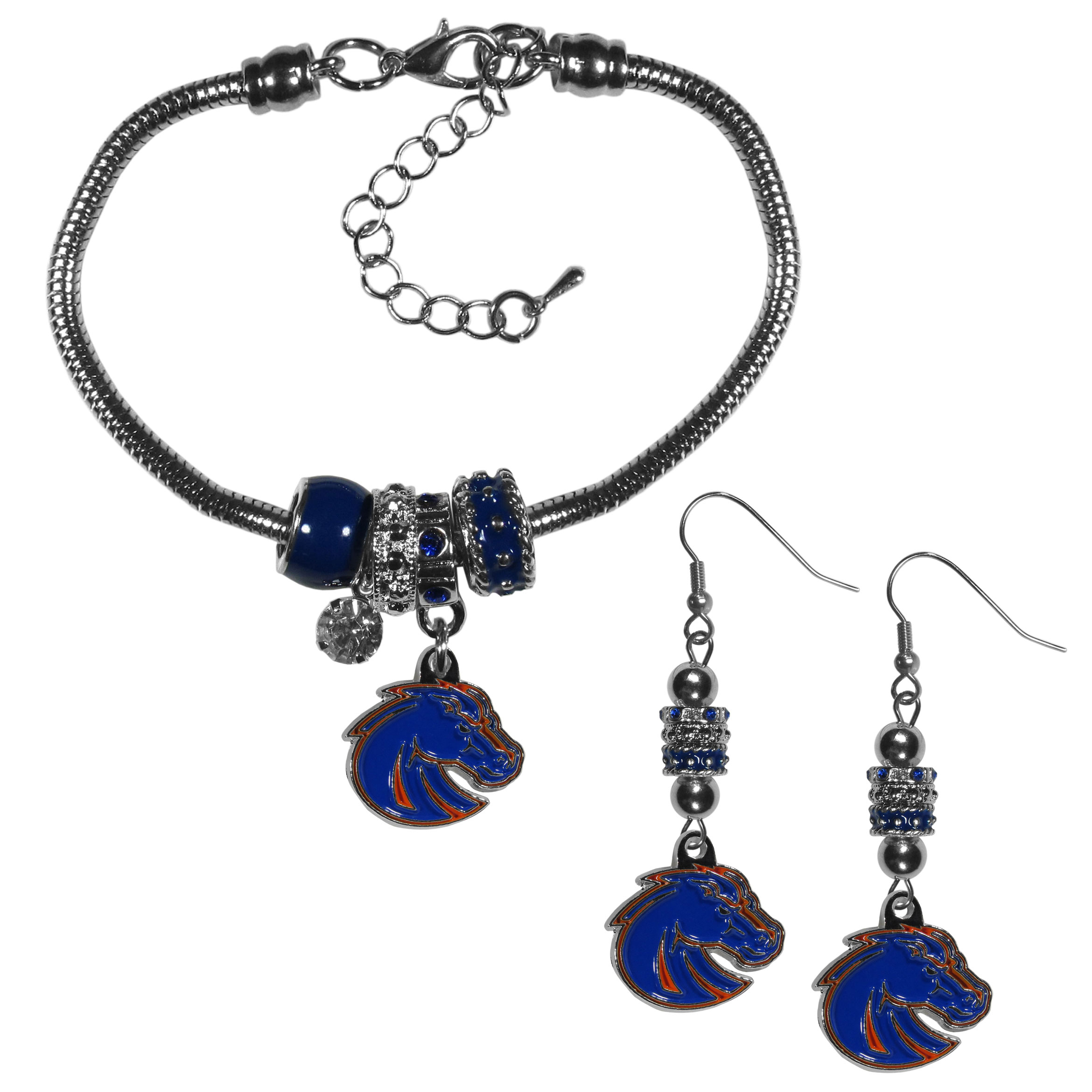Boise St. Broncos Euro Bead Earrings and Bracelet Set - We combine the popular Euro bead style with your love of the Boise St. Broncos with this beautiful jewelry set that includes earrings and a matching bracelet. The stylish earrings feature hypoallergenic, nickel free fishhook posts and 3 team colored Euro beads and a metal team charm. The matching snake chain bracelet is 7.5 inches long with a 2 inch extender and 4 Euro beads with a rhinestone charm and team charm.