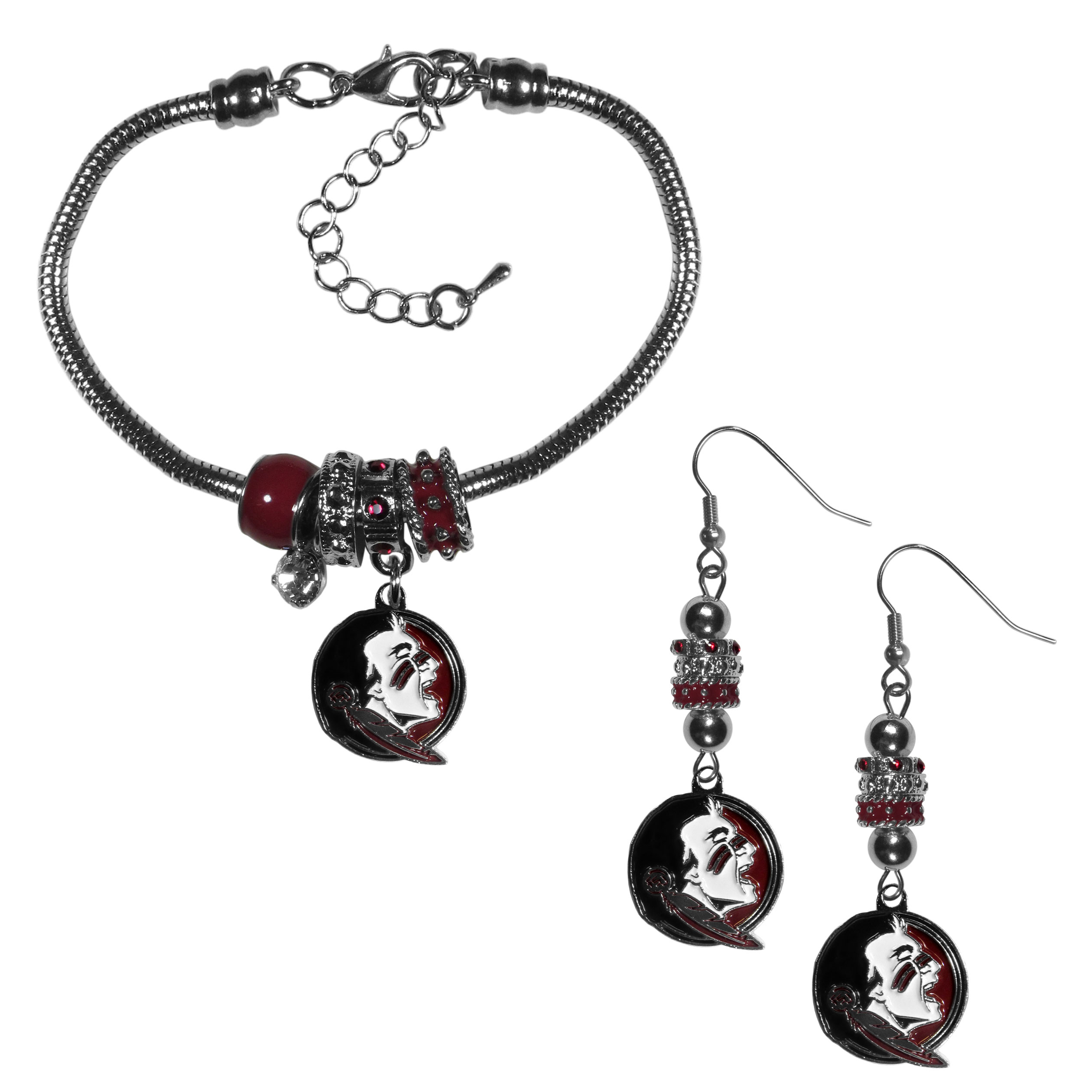 Florida St. Seminoles Euro Bead Earrings and Bracelet Set - We combine the popular Euro bead style with your love of the Florida St. Seminoles with this beautiful jewelry set that includes earrings and a matching bracelet. The stylish earrings feature hypoallergenic, nickel free fishhook posts and 3 team colored Euro beads and a metal team charm. The matching snake chain bracelet is 7.5 inches long with a 2 inch extender and 4 Euro beads with a rhinestone charm and team charm.