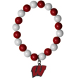 Wisconsin Badgers Fan Bead Bracelet - Flash your Wisconsin Badgers spirit with this bright stretch bracelet. This new bracelet features multicolored team beads on stretch cord with a nickel-free enameled chrome team charm. This bracelet adds the perfect pop of color to your game day accessories. Thank you for shopping with CrazedOutSports.com