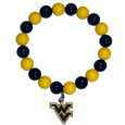 W. Virginia Mountaineers Fan Bead Bracelet - Flash your W. Virginia Mountaineers spirit with this bright stretch bracelet. This new bracelet features multicolored team beads on stretch cord with a nickel-free enameled chrome team charm. This bracelet adds the perfect pop of color to your game day accessories. Thank you for shopping with CrazedOutSports.com