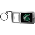 Michigan St. Spartans Flashlight Key Chain with Bottle Opener
