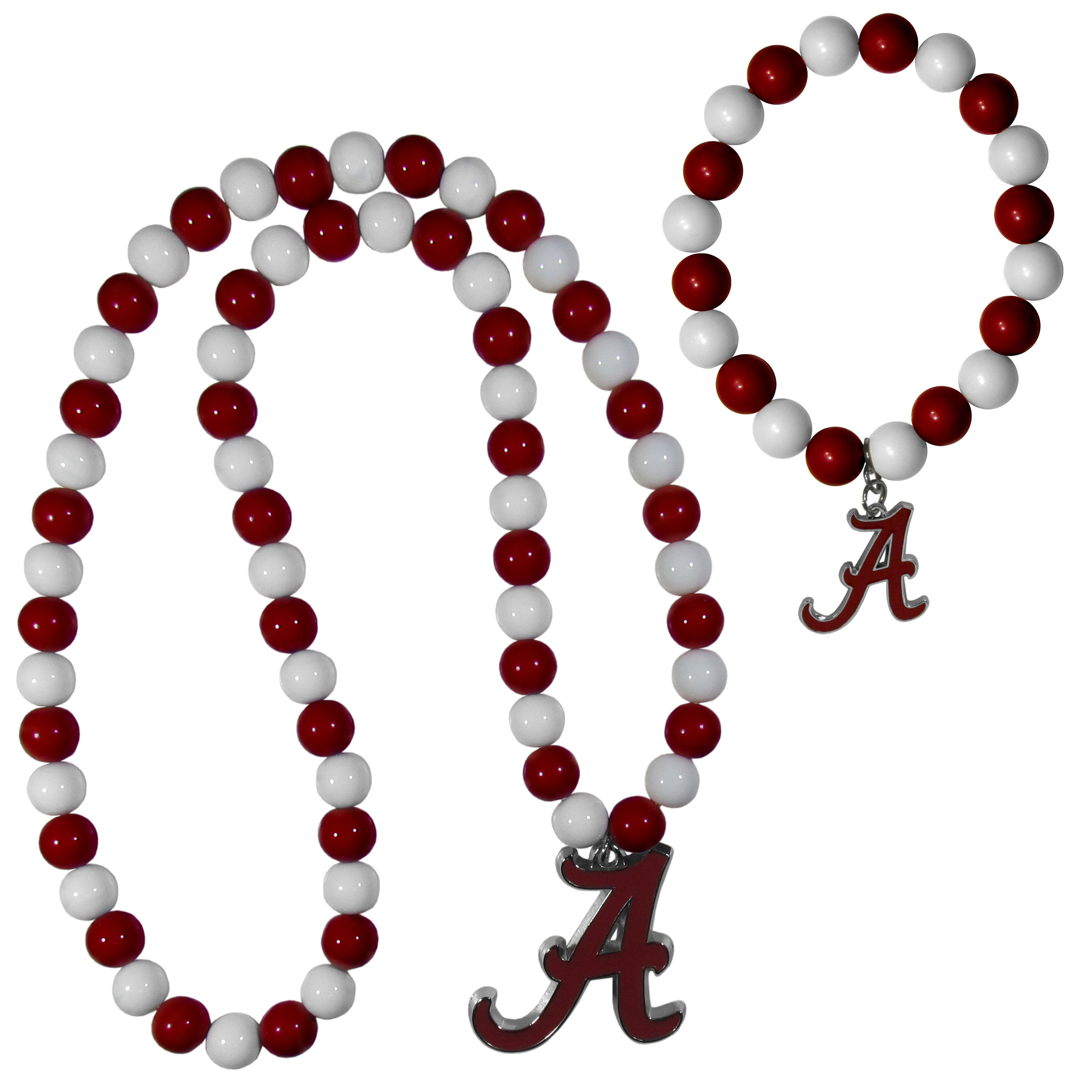 Alabama Crimson Tide Fan Bead Necklace and Bracelet Set - These fun and colorful Alabama Crimson Tide fan bead jewelry pieces are an eyecatching way to show off your team spirit. The striking necklace is a 24 inch string of alternating team colored beads with a large team pendant. The mathcing bracelet has alternating team colored beads on a stretch cord and features a matching team charm.