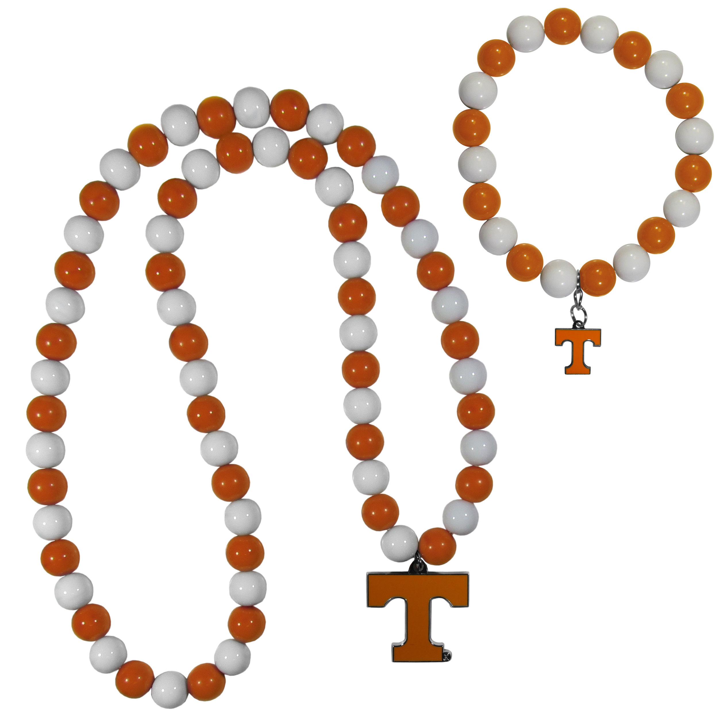 Tennessee Volunteers Fan Bead Necklace and Bracelet Set - These fun and colorful Tennessee Volunteers fan bead jewelry pieces are an eyecatching way to show off your team spirit. The striking necklace is a 24 inch string of alternating team colored beads with a large team pendant. The mathcing bracelet has alternating team colored beads on a stretch cord and features a matching team charm.