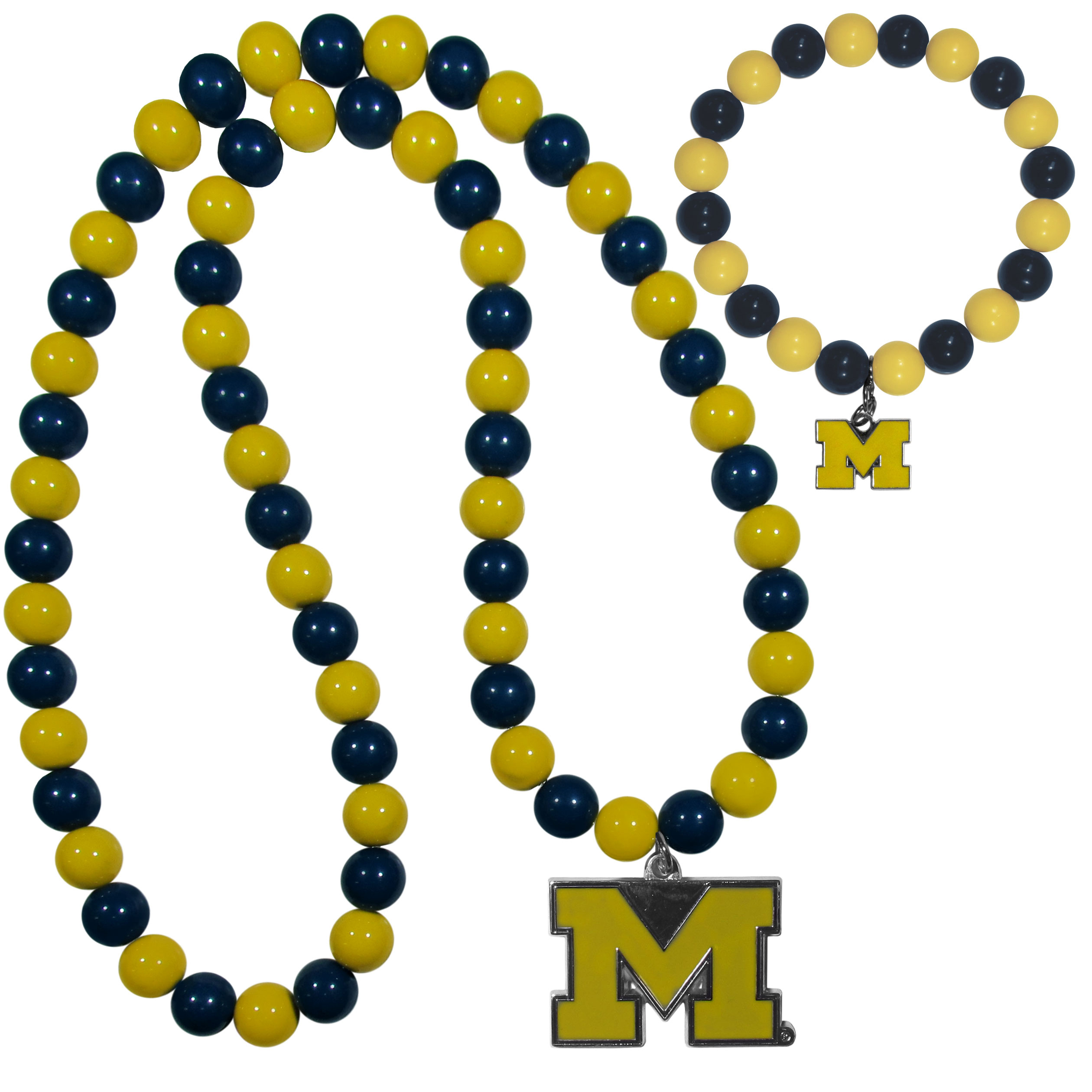 Michigan Wolverines Fan Bead Necklace and Bracelet Set - These fun and colorful Michigan Wolverines fan bead jewelry pieces are an eyecatching way to show off your team spirit. The striking necklace is a 24 inch string of alternating team colored beads with a large team pendant. The mathcing bracelet has alternating team colored beads on a stretch cord and features a matching team charm.