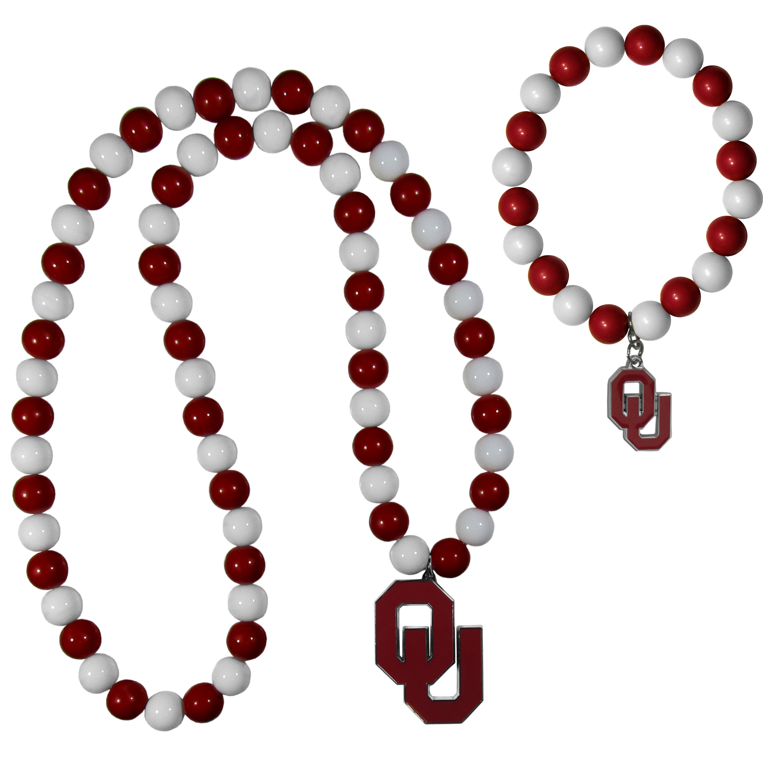 Oklahoma Sooners Fan Bead Necklace and Bracelet Set - These fun and colorful Oklahoma Sooners fan bead jewelry pieces are an eyecatching way to show off your team spirit. The striking necklace is a 24 inch string of alternating team colored beads with a large team pendant. The mathcing bracelet has alternating team colored beads on a stretch cord and features a matching team charm.