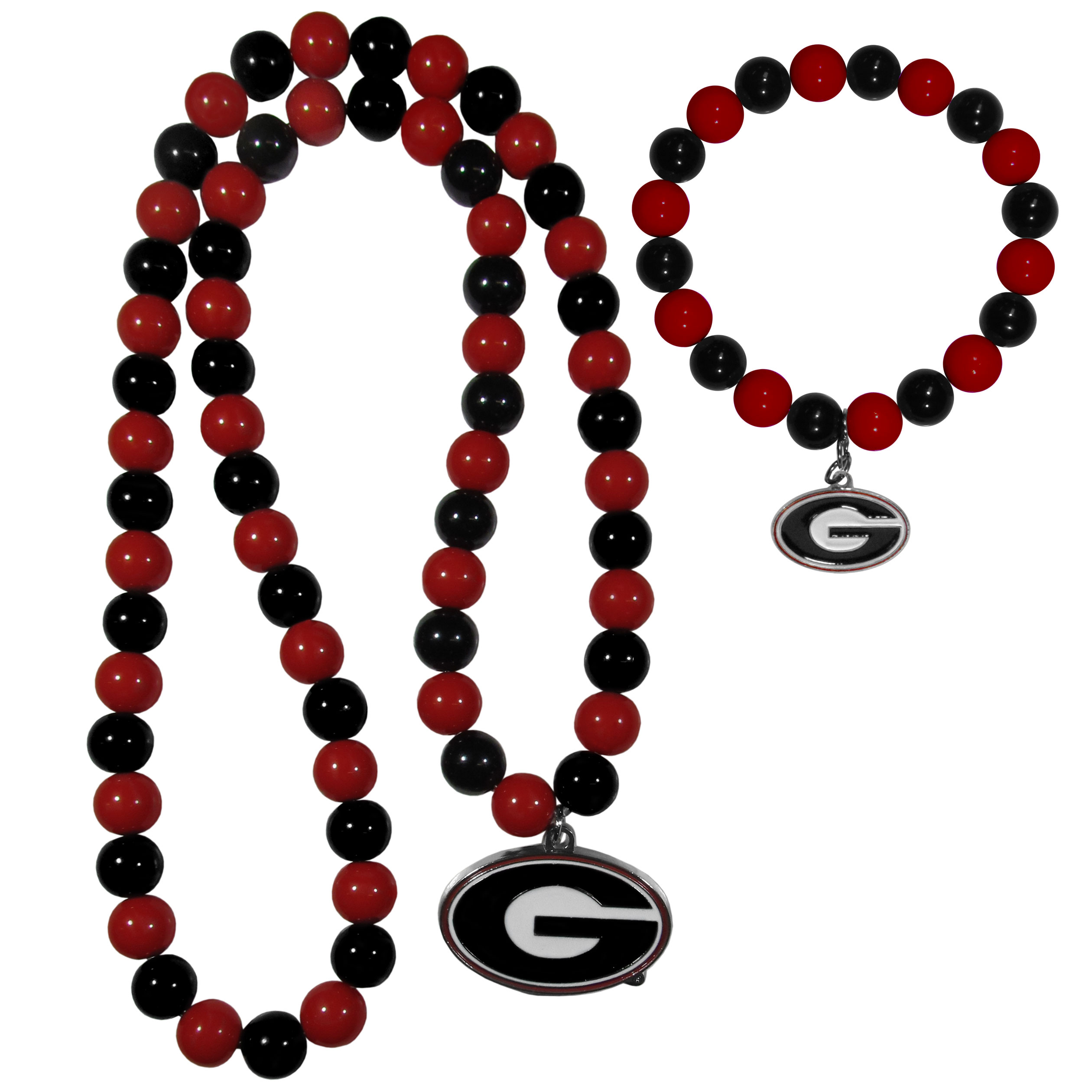 Georgia Bulldogs Fan Bead Necklace and Bracelet Set - These fun and colorful Georgia Bulldogs fan bead jewelry pieces are an eyecatching way to show off your team spirit. The striking necklace is a 24 inch string of alternating team colored beads with a large team pendant. The mathcing bracelet has alternating team colored beads on a stretch cord and features a matching team charm.