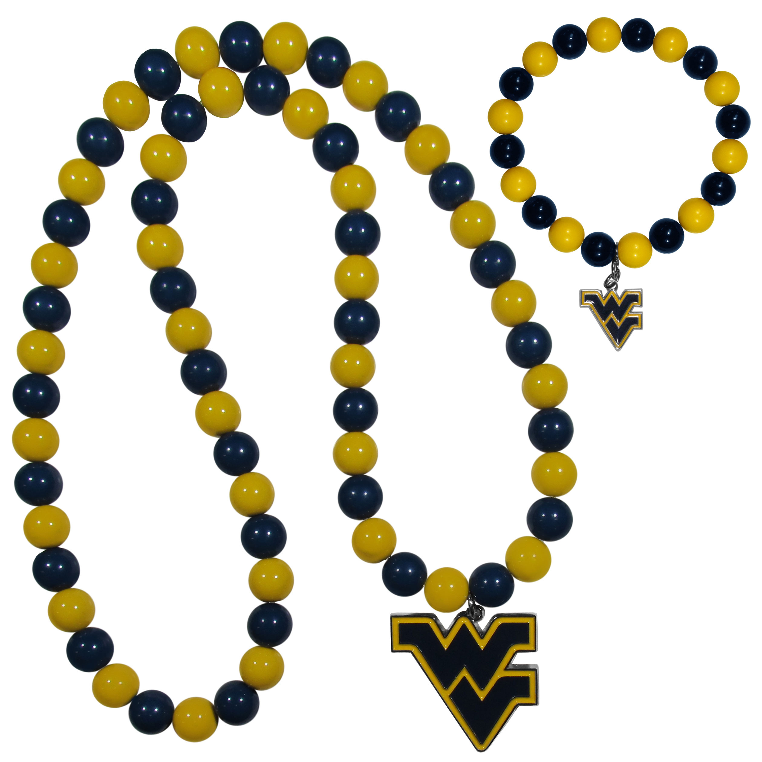 W. Virginia Mountaineers Fan Bead Necklace and Bracelet Set - These fun and colorful W. Virginia Mountaineers fan bead jewelry pieces are an eyecatching way to show off your team spirit. The striking necklace is a 24 inch string of alternating team colored beads with a large team pendant. The mathcing bracelet has alternating team colored beads on a stretch cord and features a matching team charm.