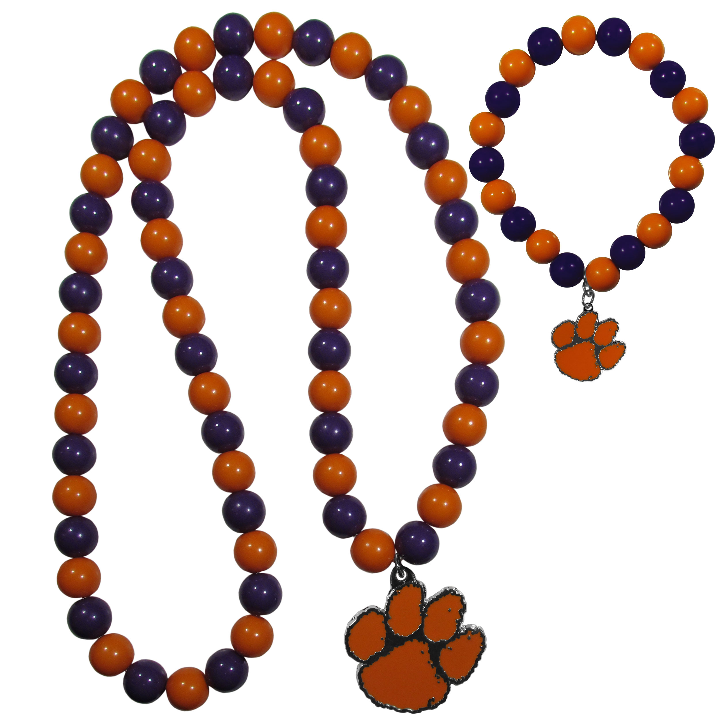 Clemson Tigers Fan Bead Necklace and Bracelet Set - These fun and colorful Clemson Tigers fan bead jewelry pieces are an eyecatching way to show off your team spirit. The striking necklace is a 24 inch string of alternating team colored beads with a large team pendant. The mathcing bracelet has alternating team colored beads on a stretch cord and features a matching team charm.