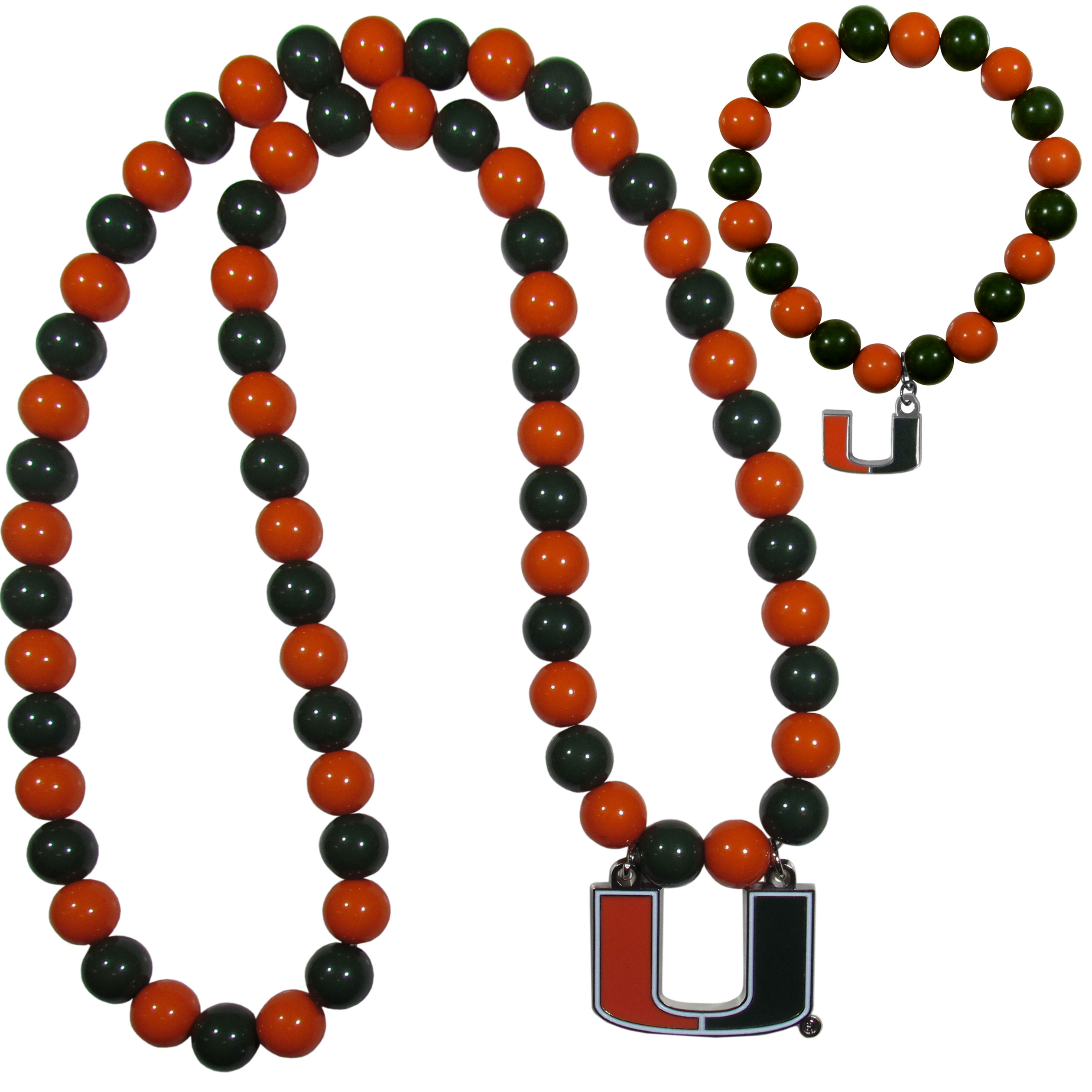 Miami Hurricanes Fan Bead Necklace and Bracelet Set - These fun and colorful Miami Hurricanes fan bead jewelry pieces are an eyecatching way to show off your team spirit. The striking necklace is a 24 inch string of alternating team colored beads with a large team pendant. The mathcing bracelet has alternating team colored beads on a stretch cord and features a matching team charm.