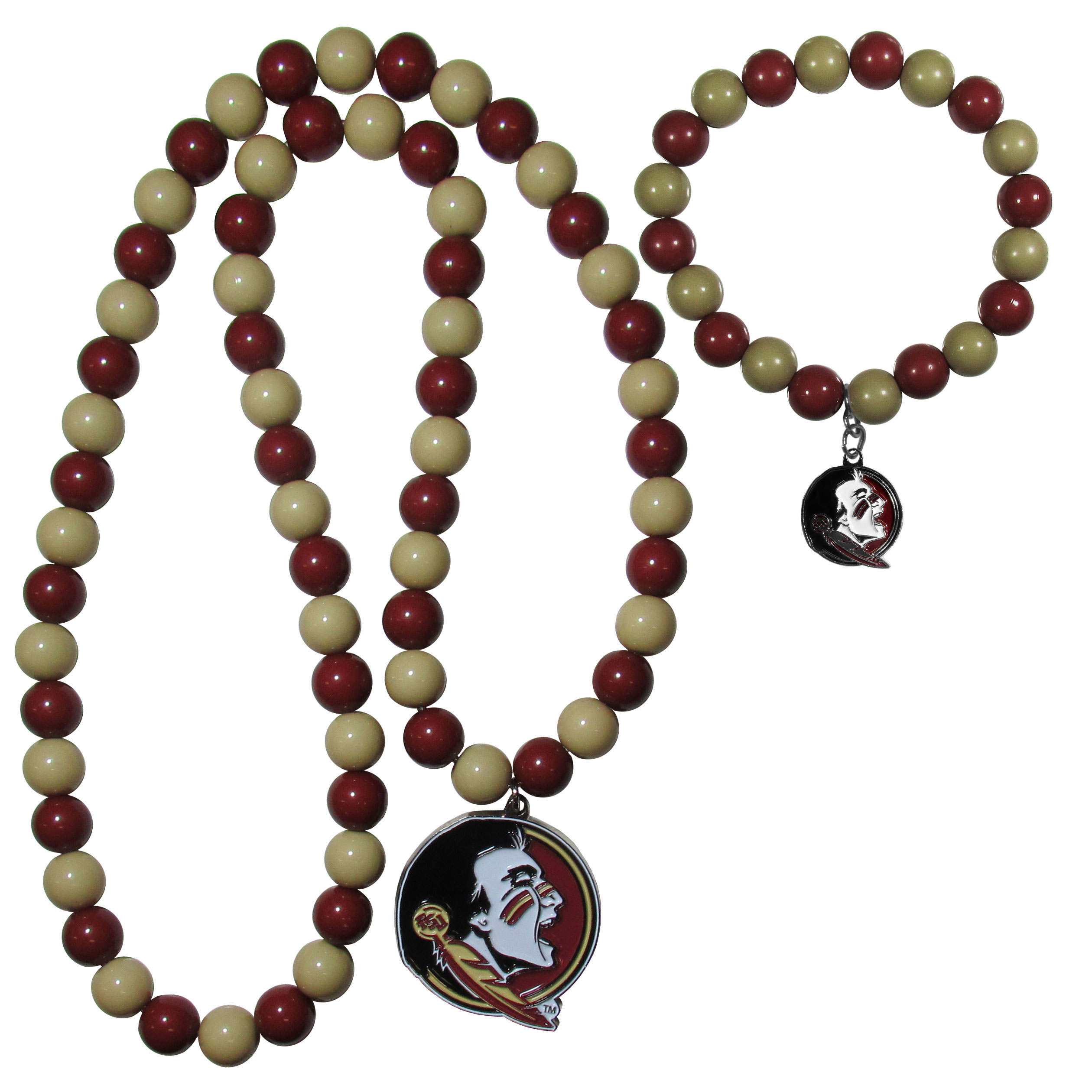 Florida St. Seminoles Fan Bead Necklace and Bracelet Set - These fun and colorful Florida St. Seminoles fan bead jewelry pieces are an eyecatching way to show off your team spirit. The striking necklace is a 24 inch string of alternating team colored beads with a large team pendant. The mathcing bracelet has alternating team colored beads on a stretch cord and features a matching team charm.