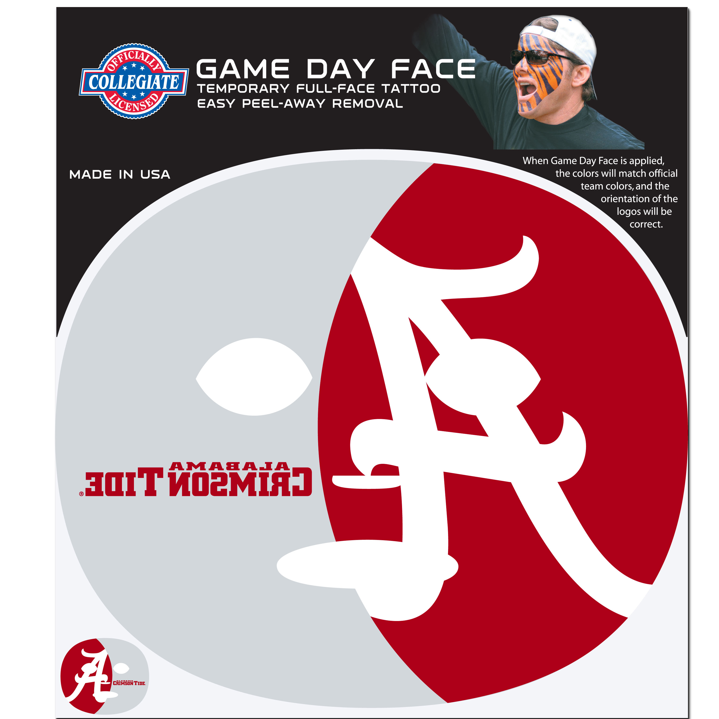 Alabama Crimson Tide Game Face Temporary Tattoo - No better way to show your Alabama Crimson Tide pride than by painting your face. Siskiyou's Game Day Face Temporary Tattoo isn't your typical face paint. It is a water based application that doesn't smudge, smear or sweat off  while you're wearing it and easily peels off after you're done celebrating your team's big Win! The temporary tattoo is large enough to trim down to fit your face.  Our Game Day Face Temporary Tattoo's are fun for fans of all ages. You may have seen our product before,  these are the same Temporary Face Tattoos as pitched on ABC's Shark Tank.