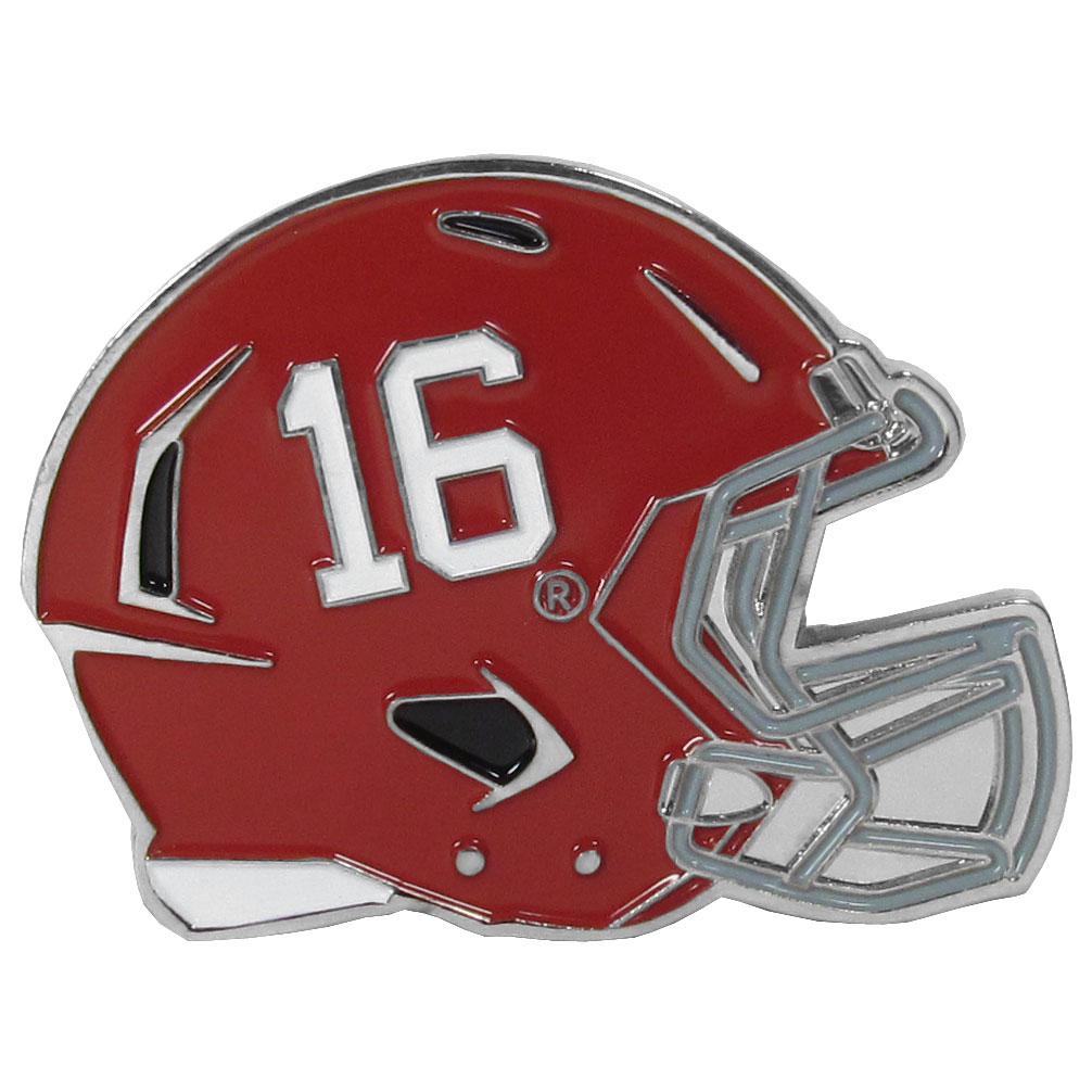 Alabama Crimson Tide Large Helmet Ball Marker - Have trouble keeping track of your ball markers? This extra large helmet is easy to keep track of and features a magnetic slot that securely houses a team ball marker. The Alabama Crimson Tide helmet is sculpted in metal with exceptional detal and finished with enameled team colors. Great way match your love of your team with the love of golf. The helmet is 1.75 inches wide and the marker is 1 inch round.