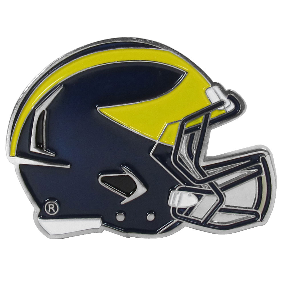 Michigan Wolverines Large Helmet Ball Marker - Have trouble keeping track of your ball markers? This extra large helmet is easy to keep track of and features a magnetic slot that securely houses a team ball marker. The Michigan Wolverines helmet is sculpted in metal with exceptional detal and finished with enameled team colors. Great way match your love of your team with the love of golf. The helmet is 1.75 inches wide and the marker is 1 inch round.
