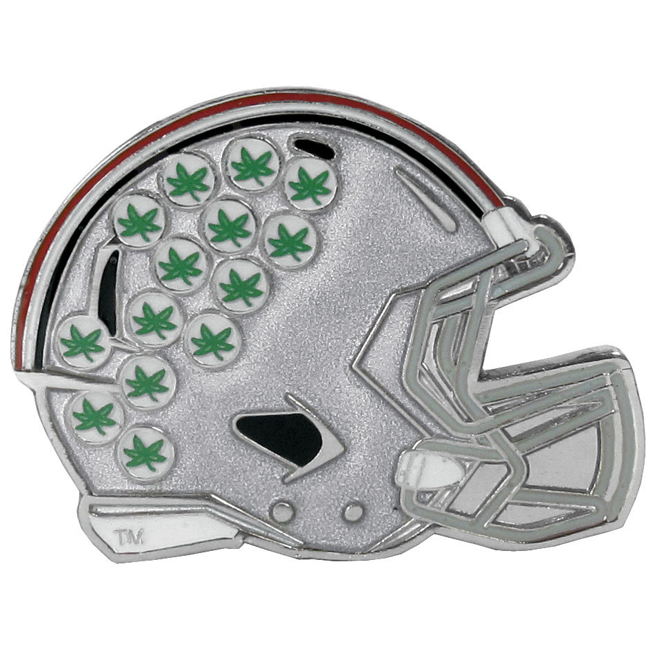 Ohio St. Buckeyes Large Helmet Ball Marker - Have trouble keeping track of your ball markers? This extra large helmet is easy to keep track of and features a magnetic slot that securely houses a team ball marker. The Ohio St. Buckeyes helmet is sculpted in metal with exceptional detal and finished with enameled team colors. Great way match your love of your team with the love of golf. The helmet is 1.75 inches wide and the marker is 1 inch round.