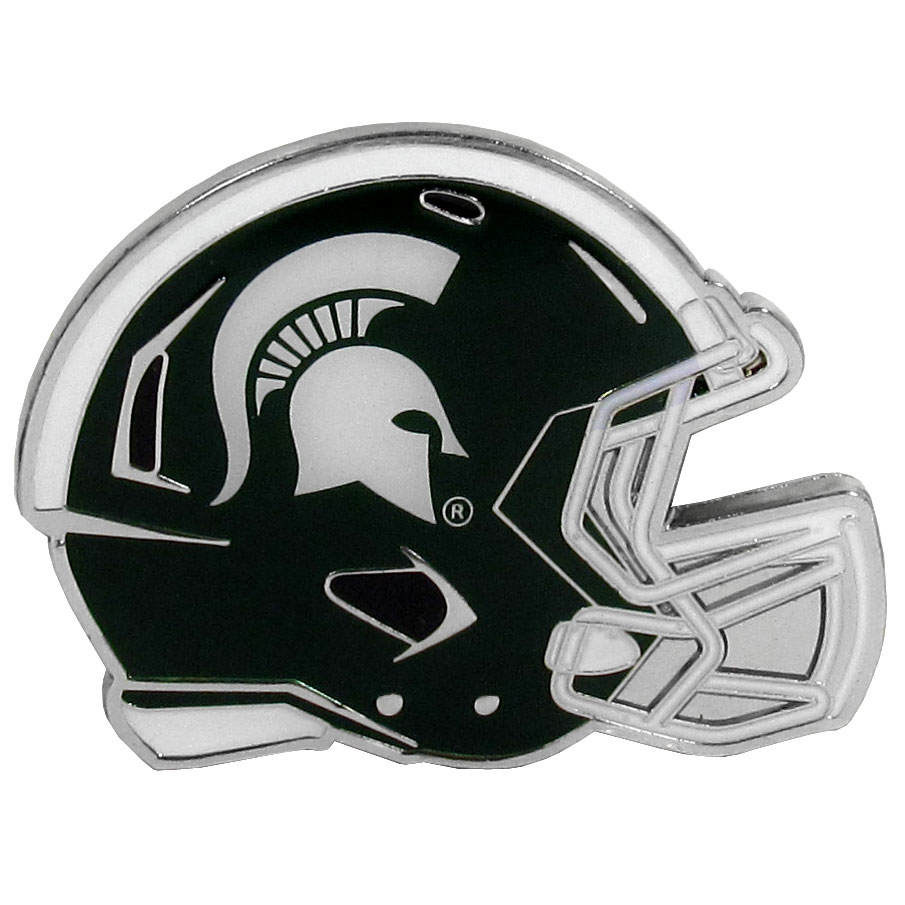 Michigan St. Spartans Large Helmet Ball Marker - Have trouble keeping track of your ball markers? This extra large helmet is easy to keep track of and features a magnetic slot that securely houses a team ball marker. The Michigan St. Spartans helmet is sculpted in metal with exceptional detal and finished with enameled team colors. Great way match your love of your team with the love of golf. The helmet is 1.75 inches wide and the marker is 1 inch round.