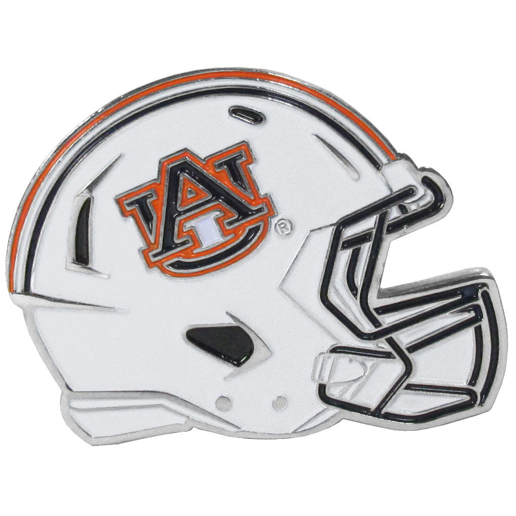 Auburn Tigers Large Helmet Ball Marker - Have trouble keeping track of your ball markers? This extra large helmet is easy to keep track of and features a magnetic slot that securely houses a team ball marker. The Auburn Tigers helmet is sculpted in metal with exceptional detal and finished with enameled team colors. Great way match your love of your team with the love of golf. The helmet is 1.75 inches wide and the marker is 1 inch round.