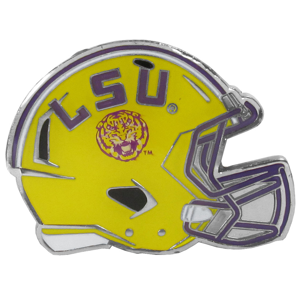 LSU Tigers Large Helmet Ball Marker - Have trouble keeping track of your ball markers? This extra large helmet is easy to keep track of and features a magnetic slot that securely houses a team ball marker. The LSU Tigers helmet is sculpted in metal with exceptional detal and finished with enameled team colors. Great way match your love of your team with the love of golf. The helmet is 1.75 inches wide and the marker is 1 inch round.