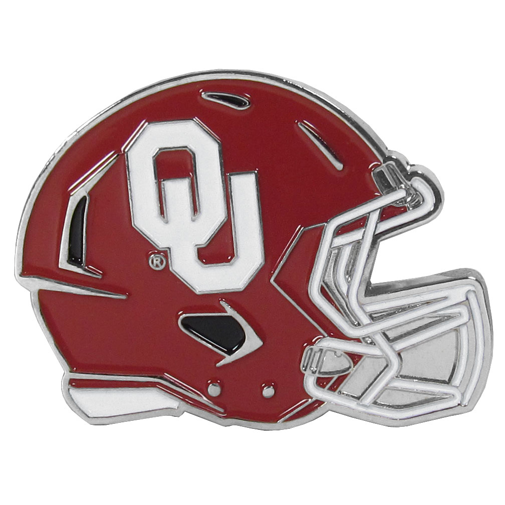 Oklahoma Sooners Large Helmet Ball Marker - Have trouble keeping track of your ball markers? This extra large helmet is easy to keep track of and features a magnetic slot that securely houses a team ball marker. The Oklahoma Sooners helmet is sculpted in metal with exceptional detal and finished with enameled team colors. Great way match your love of your team with the love of golf. The helmet is 1.75 inches wide and the marker is 1 inch round.