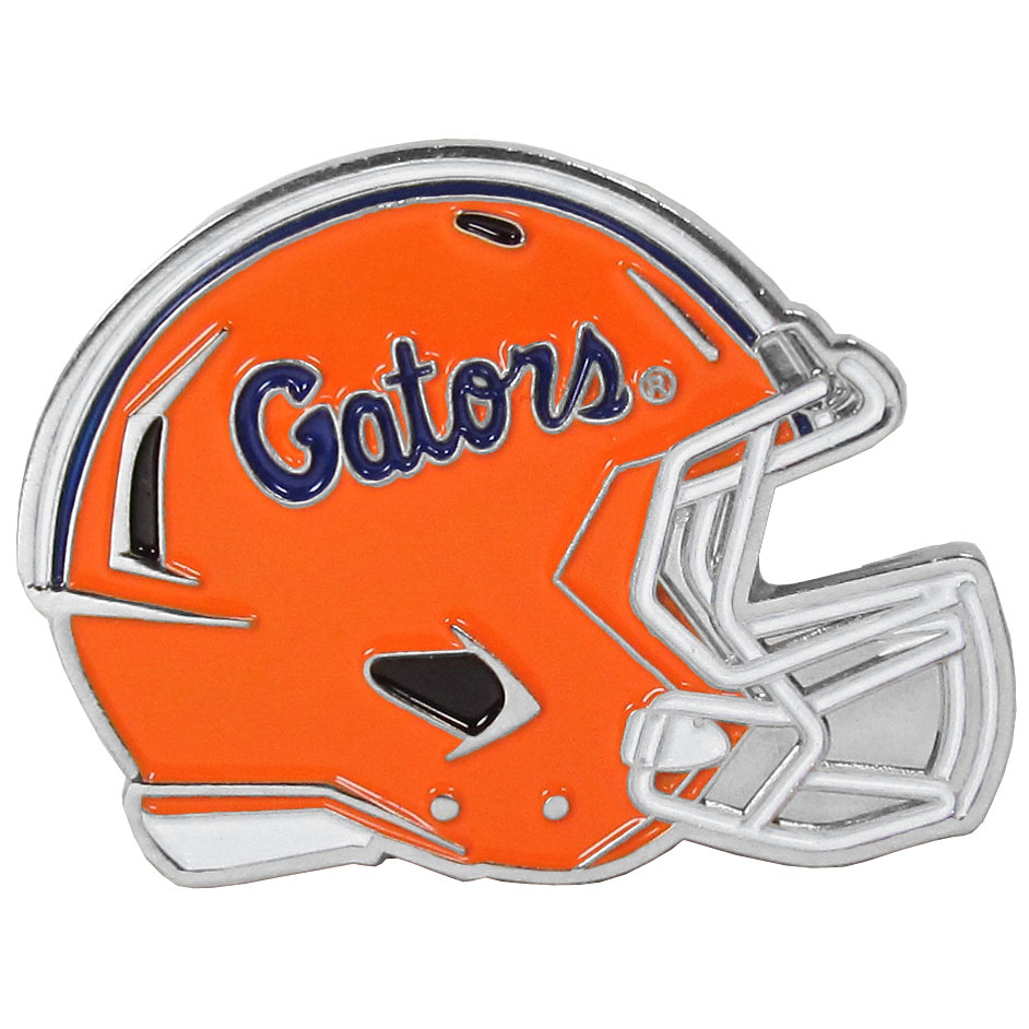 Florida Gators Large Helmet Ball Marker - Have trouble keeping track of your ball markers? This extra large helmet is easy to keep track of and features a magnetic slot that securely houses a team ball marker. The Florida Gators helmet is sculpted in metal with exceptional detal and finished with enameled team colors. Great way match your love of your team with the love of golf. The helmet is 1.75 inches wide and the marker is 1 inch round.