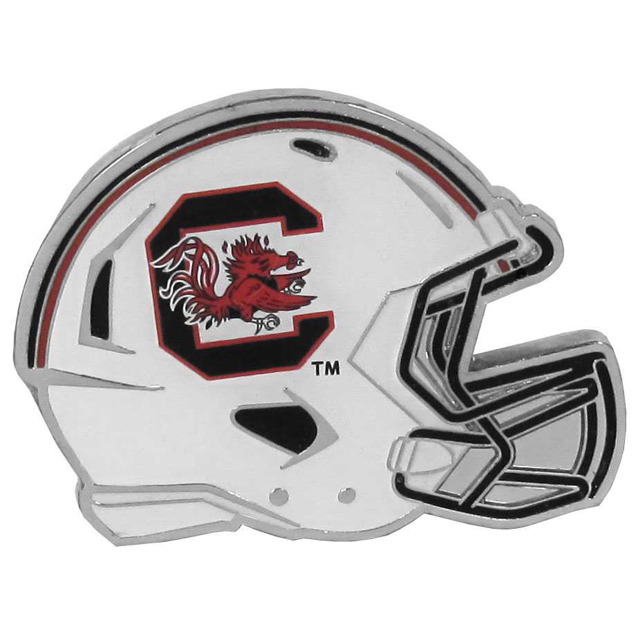 S. Carolina Gamecocks Large Helmet Ball Marker - Have trouble keeping track of your ball markers? This extra large helmet is easy to keep track of and features a magnetic slot that securely houses a team ball marker. The S. Carolina Gamecocks helmet is sculpted in metal with exceptional detal and finished with enameled team colors. Great way match your love of your team with the love of golf. The helmet is 1.75 inches wide and the marker is 1 inch round.