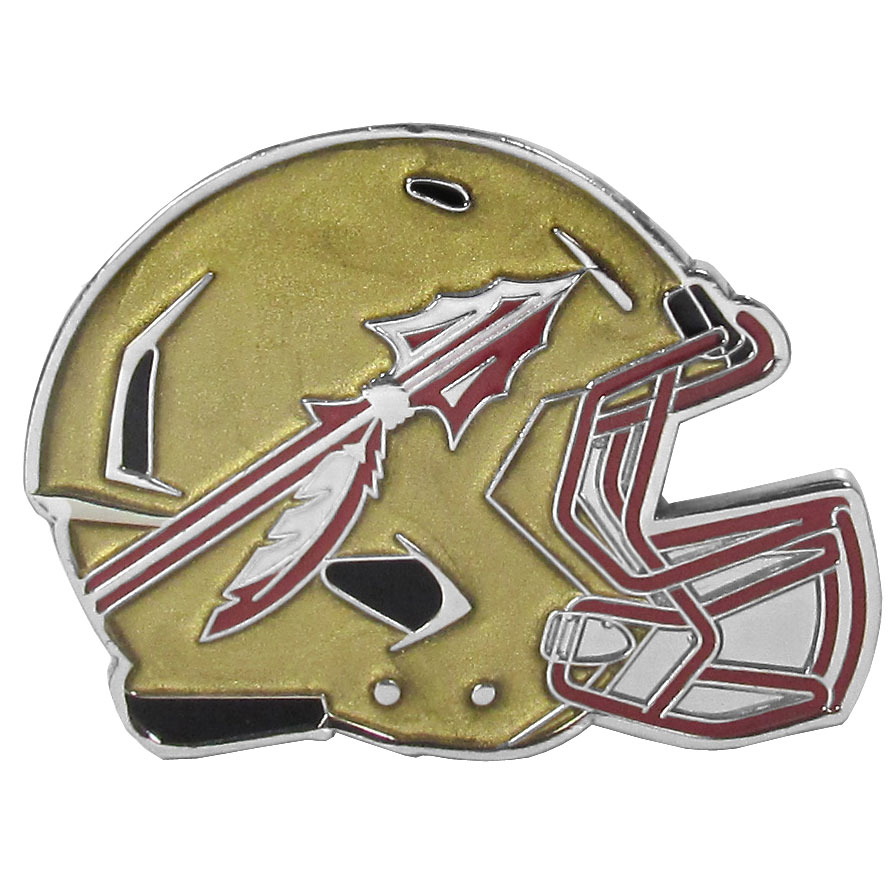 Florida St. Seminoles Large Helmet Ball Marker - Have trouble keeping track of your ball markers? This extra large helmet is easy to keep track of and features a magnetic slot that securely houses a team ball marker. The Florida St. Seminoles helmet is sculpted in metal with exceptional detal and finished with enameled team colors. Great way match your love of your team with the love of golf. The helmet is 1.75 inches wide and the marker is 1 inch round.