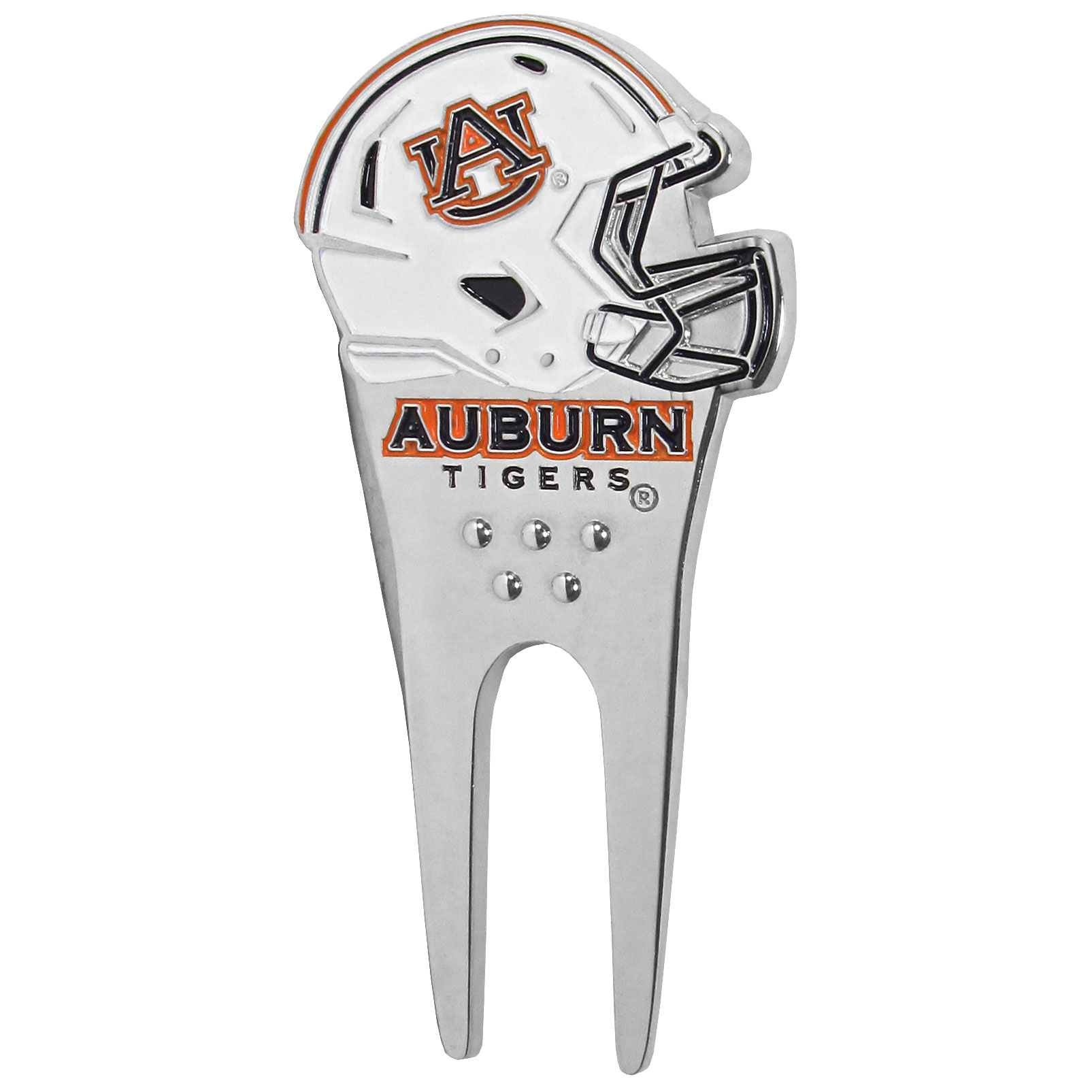 Auburn Tigers Divot Tool and Ball Marker - Keep the greens in good shape with our Auburn Tigers high quality divot tool and ball marker. The fully metal tool features a sculpted team helmet at the top of the divot tool and a logo ball marker that is held in place by a powerful magnet. Never hit the greens without it.