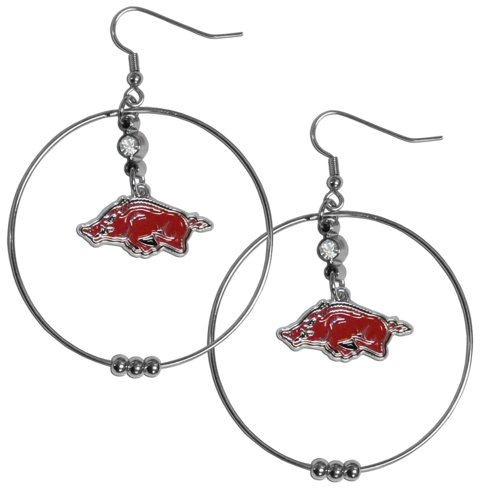 Arkansas Razorbacks 2 Inch Hoop Earrings - Our large hoop earrings have a fully cast and enameled Arkansas Razorbacks charm with enameled detail and a high polish nickel free chrome finish and rhinestone access. Hypoallergenic fishhook posts.