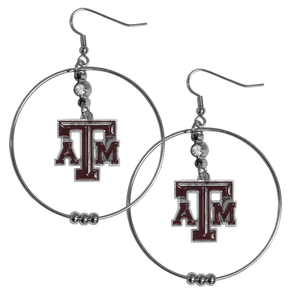Texas A and M Aggies 2 Inch Hoop Earrings - Our large hoop earrings have a fully cast and enameled Texas A & M Aggies charm with enameled detail and a high polish nickel free chrome finish and rhinestone access. Hypoallergenic fishhook posts.