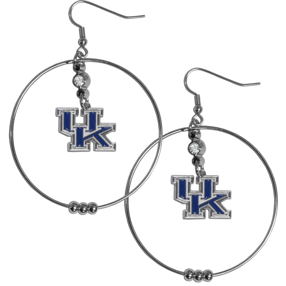 Kentucky Wildcats 2 Inch Hoop Earrings - Our large hoop earrings have a fully cast and enameled Kentucky Wildcats charm with enameled detail and a high polish nickel free chrome finish and rhinestone access. Hypoallergenic fishhook posts.