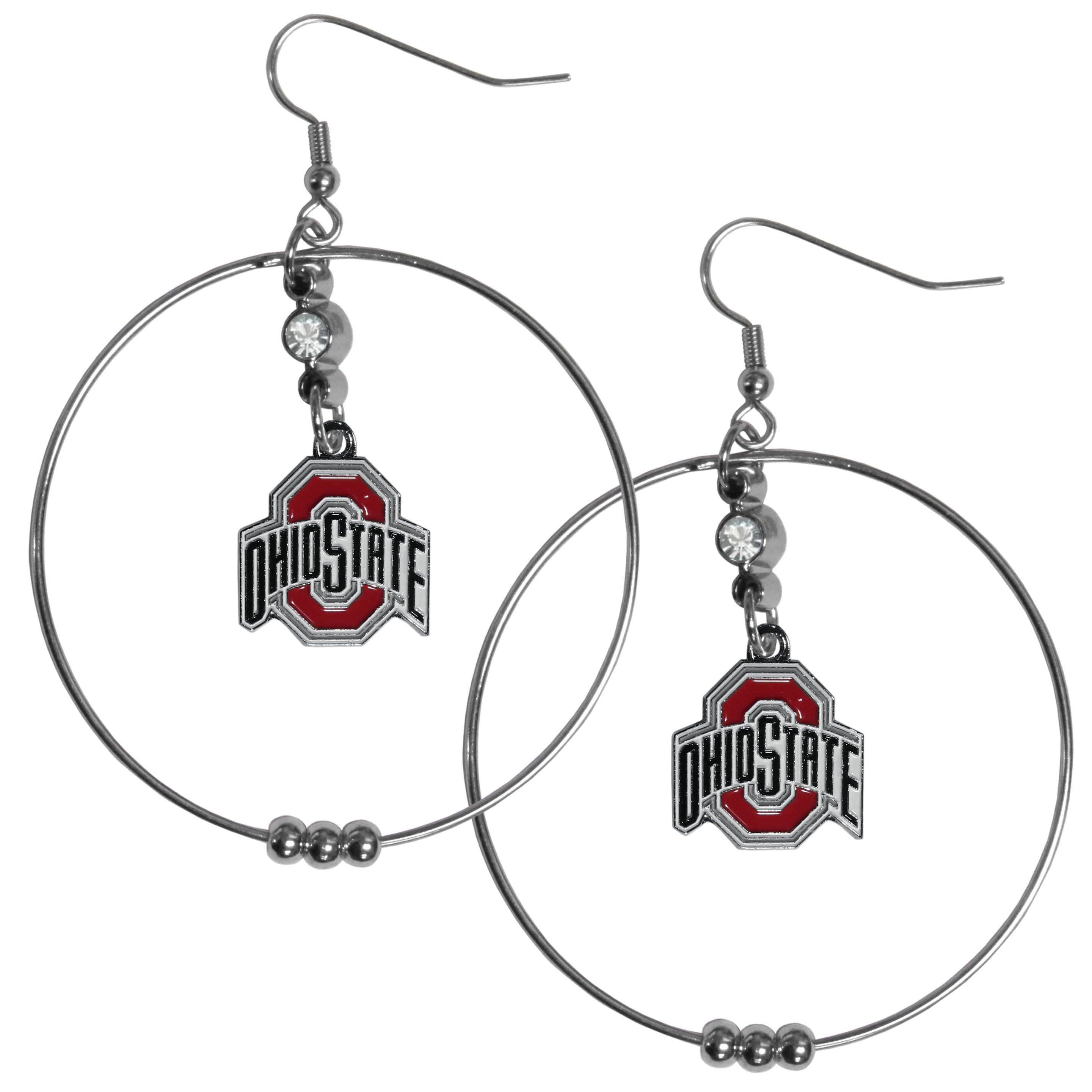 Ohio St. Buckeyes 2 Inch Hoop Earrings - Our large hoop earrings have a fully cast and enameled Ohio St. Buckeyes charm with enameled detail and a high polish nickel free chrome finish and rhinestone access. Hypoallergenic fishhook posts.