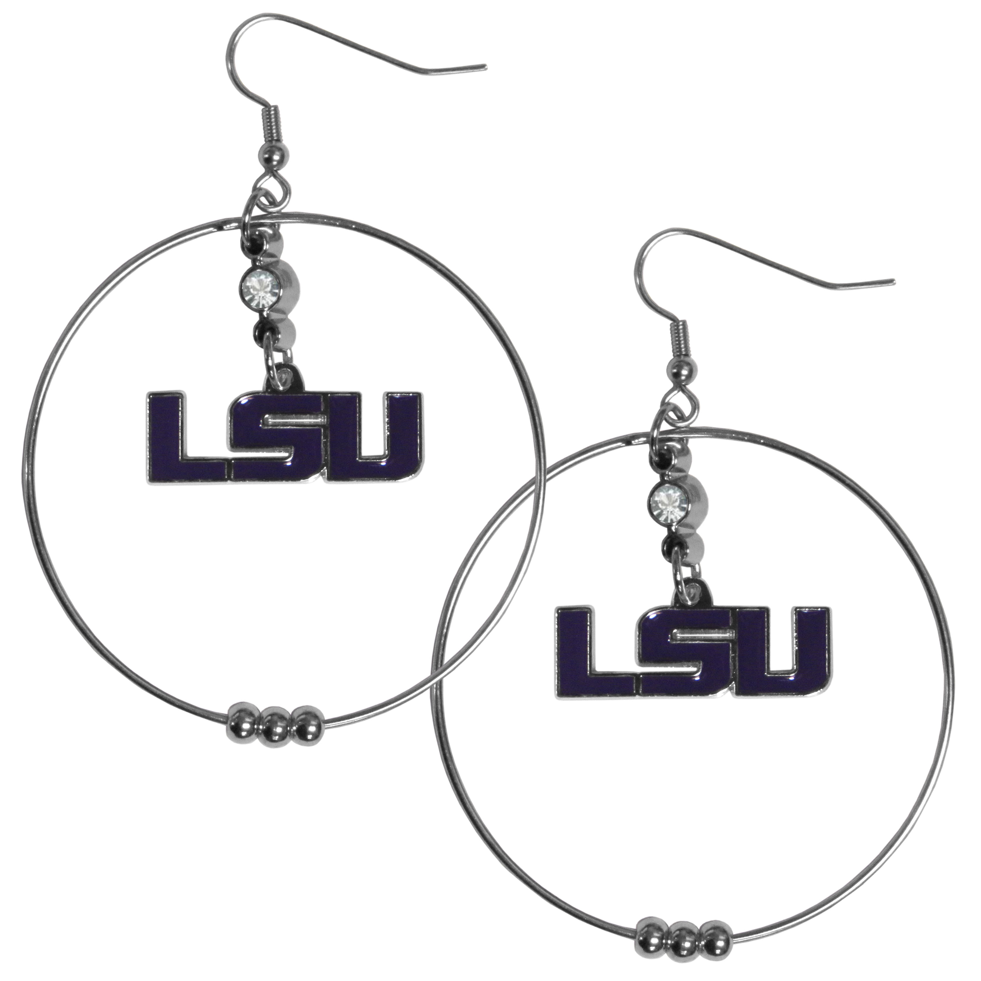 LSU Tigers 2 Inch Hoop Earrings - Our large hoop earrings have a fully cast and enameled LSU Tigers charm with enameled detail and a high polish nickel free chrome finish and rhinestone access. Hypoallergenic fishhook posts.