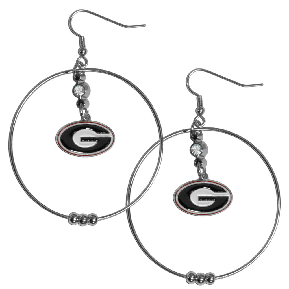 Georgia Bulldogs 2 Inch Hoop Earrings - Our large hoop earrings have a fully cast and enameled Georgia Bulldogs charm with enameled detail and a high polish nickel free chrome finish and rhinestone access. Hypoallergenic fishhook posts.