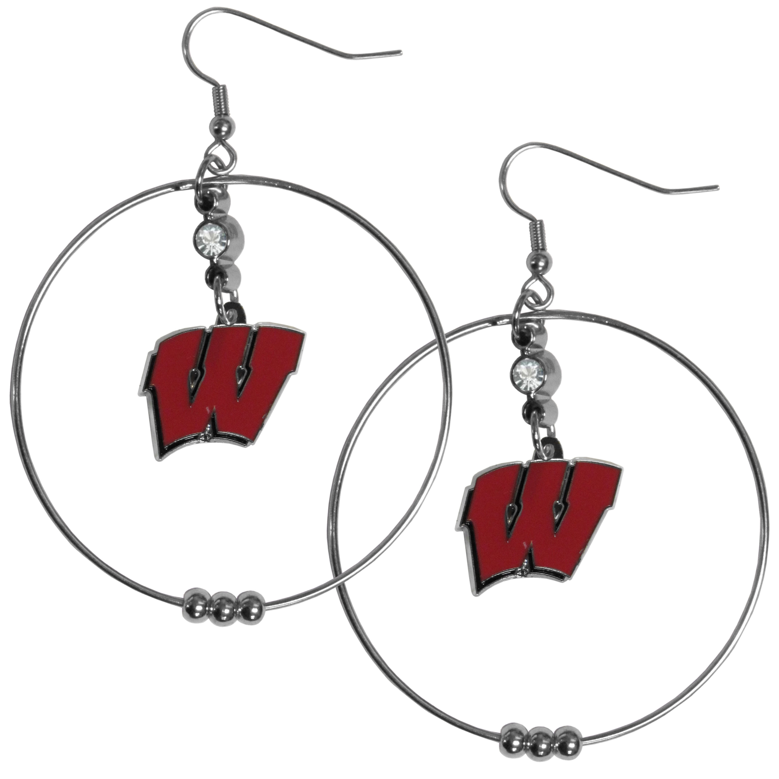Wisconsin Badgers 2 Inch Hoop Earrings - Our large hoop earrings have a fully cast and enameled Wisconsin Badgers charm with enameled detail and a high polish nickel free chrome finish and rhinestone access. Hypoallergenic fishhook posts.