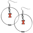Illinois Fighting Illini 2 Inch Hoop Earrings - Our large Illinois Fighting Illini hoop earrings have a fully cast and enameled Illinois Fighting Illini charm with enameled detail and a high polish nickel free chrome finish and rhinestone access. Hypoallergenic fishhook posts.  Thank you for shopping with CrazedOutSports.com
