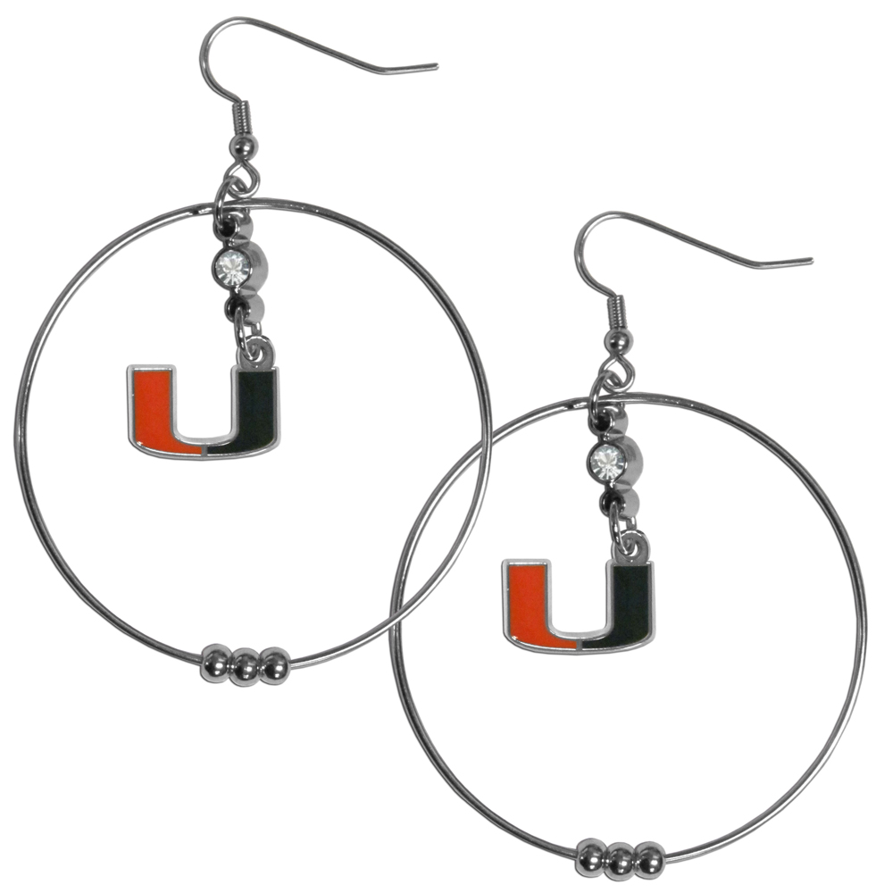 Miami Hurricanes 2 Inch Hoop Earrings - Our large hoop earrings have a fully cast and enameled Miami Hurricanes charm with enameled detail and a high polish nickel free chrome finish and rhinestone access. Hypoallergenic fishhook posts.