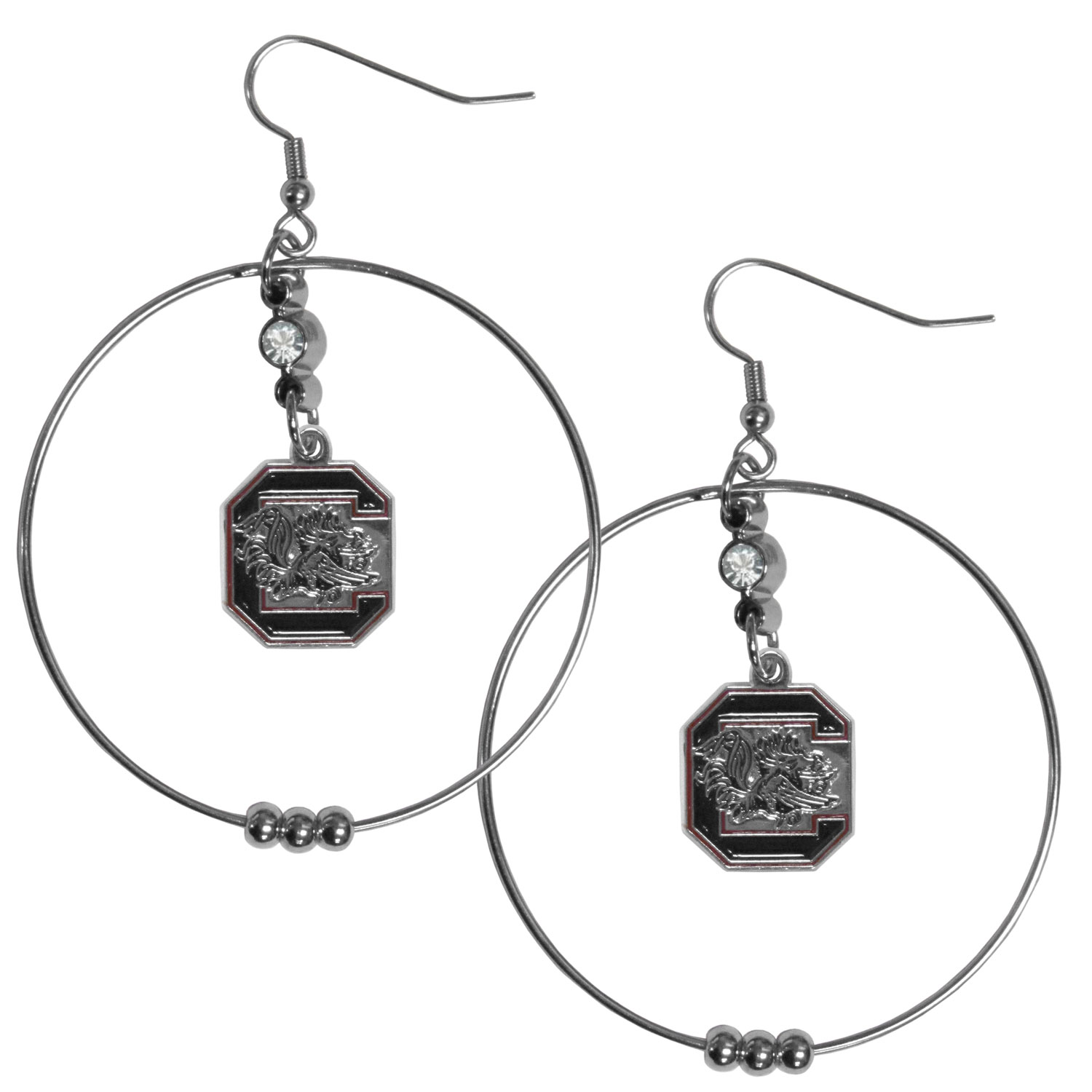 S. Carolina Gamecocks 2 Inch Hoop Earrings - Our large hoop earrings have a fully cast and enameled S. Carolina Gamecocks charm with enameled detail and a high polish nickel free chrome finish and rhinestone access. Hypoallergenic fishhook posts.
